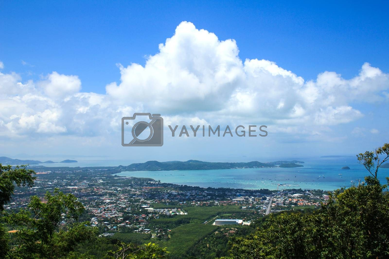 Phuket View Point to see ocean view of Phuket ,Thailand. by Nunnicha Supagrit