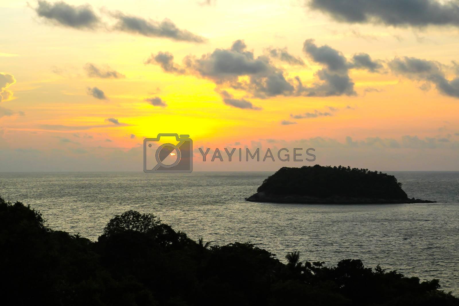 Sunset at sea in Phuket ,Thailand. by Nunnicha Supagrit