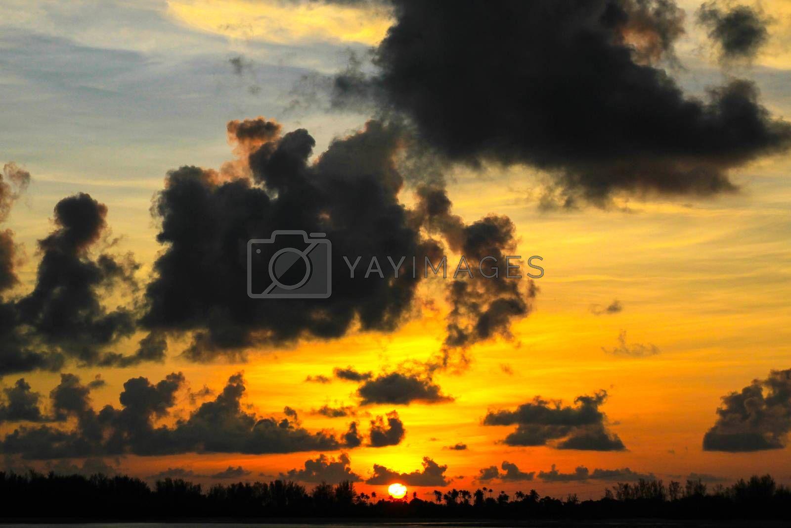 Dramatic Sunset Sky with Clouds. by Nunnicha Supagrit