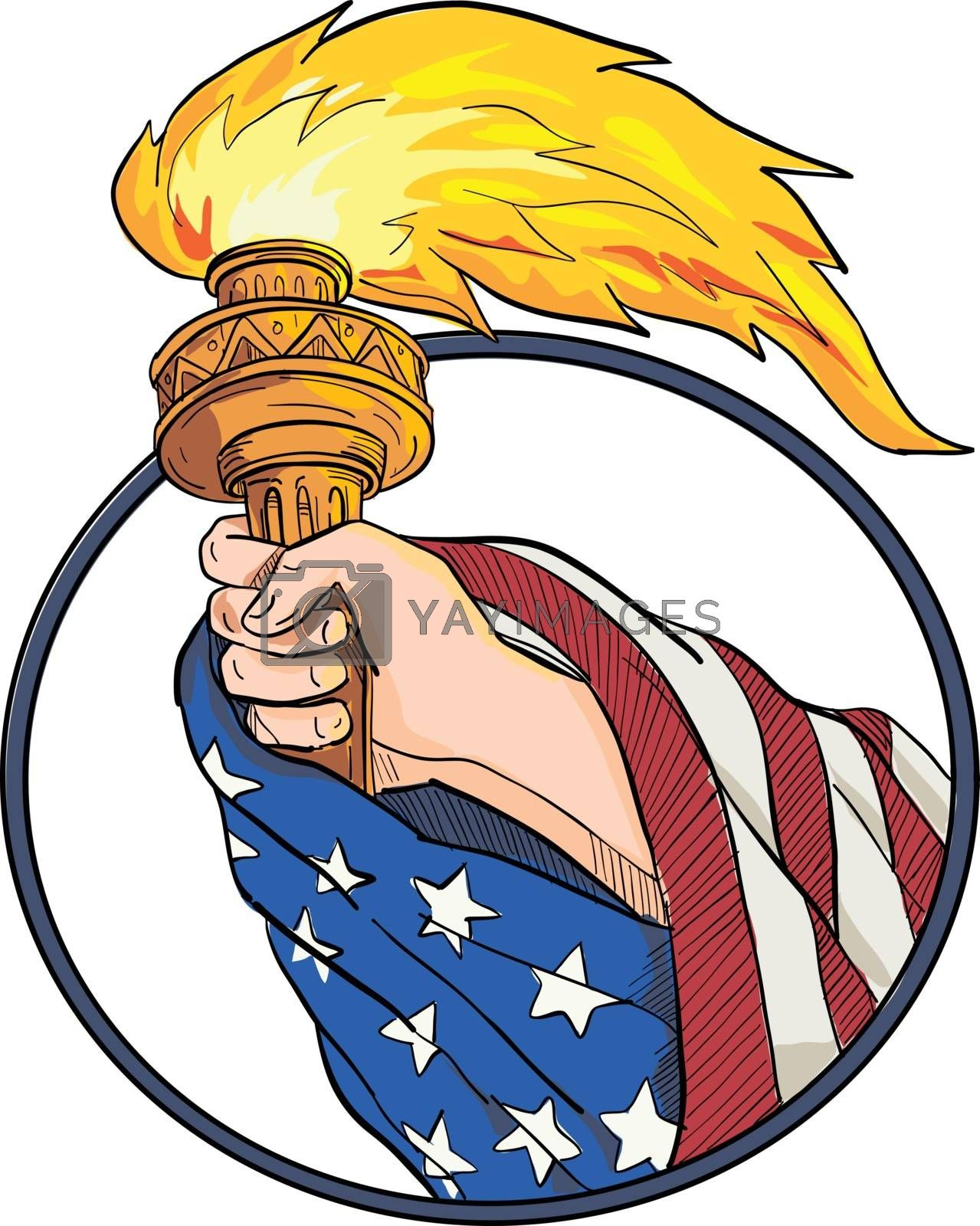 Hand Holding Liberty Torch Drawing Color by patrimonio