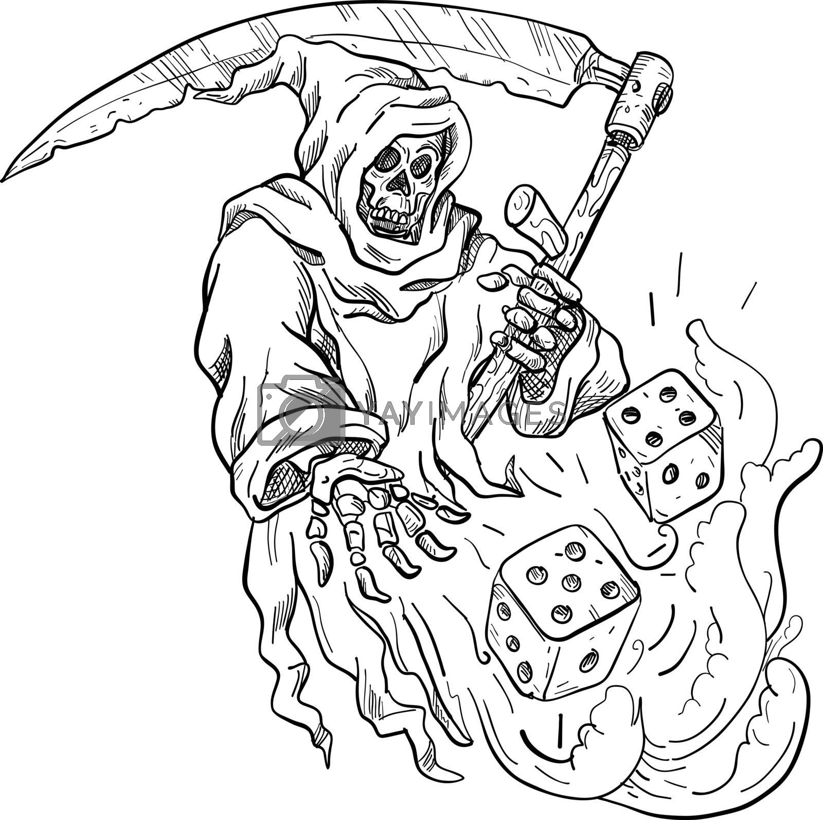 The Grim Reaper Rolling the Dice Drawing Black and White by patrimonio