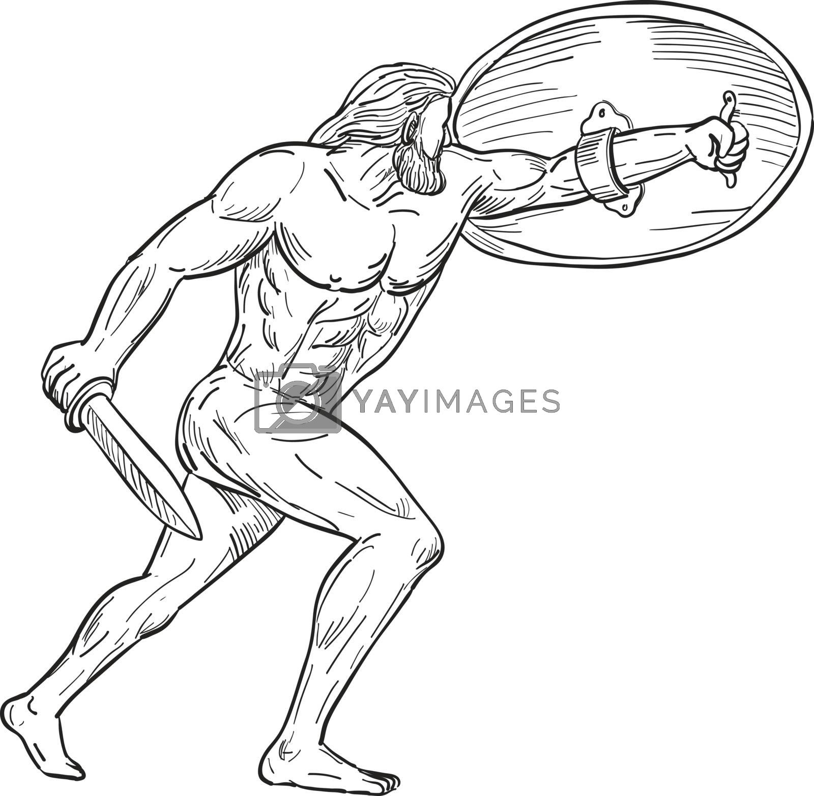Heracles With Shield and Sword Drawing Black and White by patrimonio