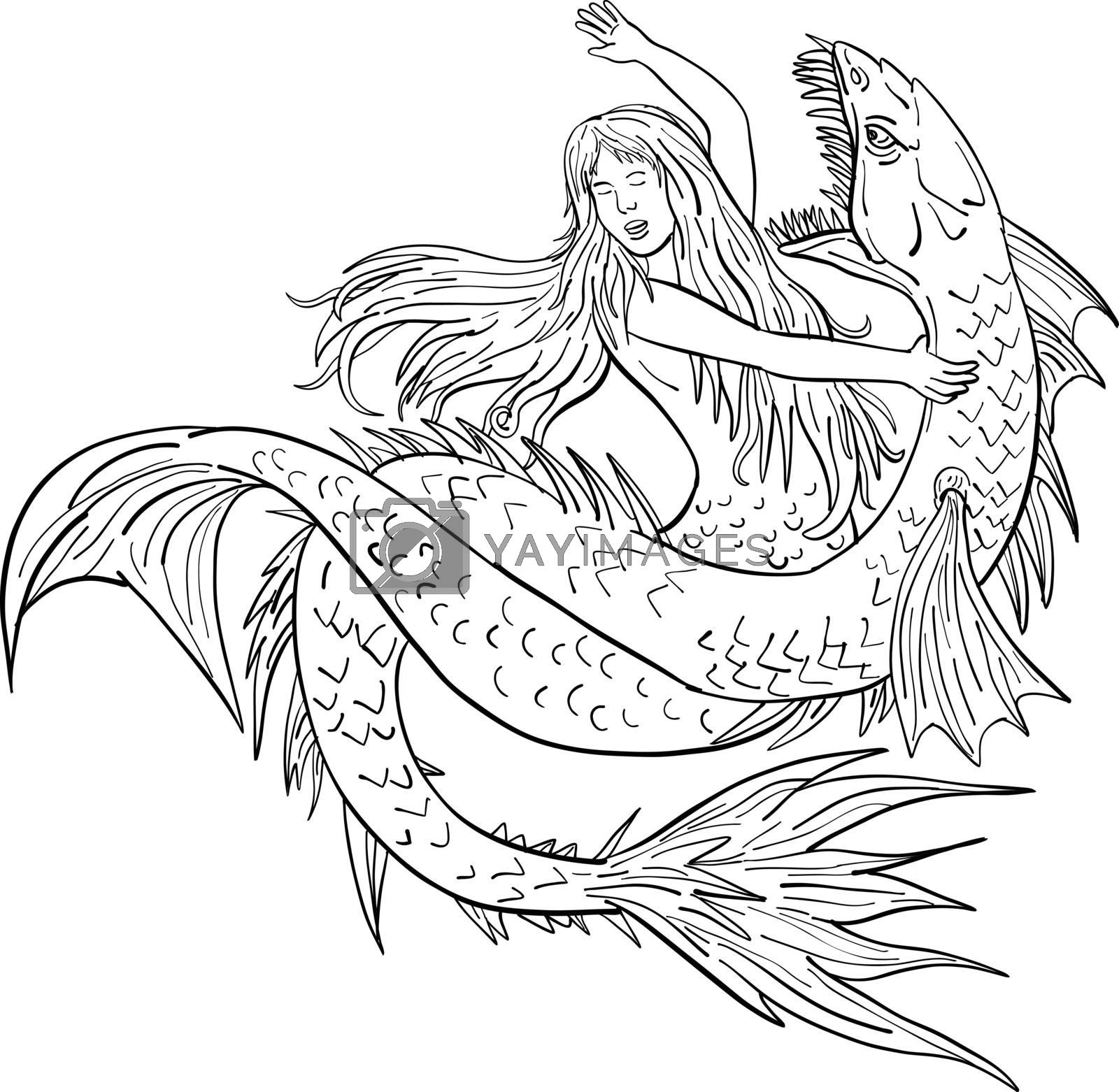 Mermaid Fighting a Sea Serpent Drawing Black and White by patrimonio