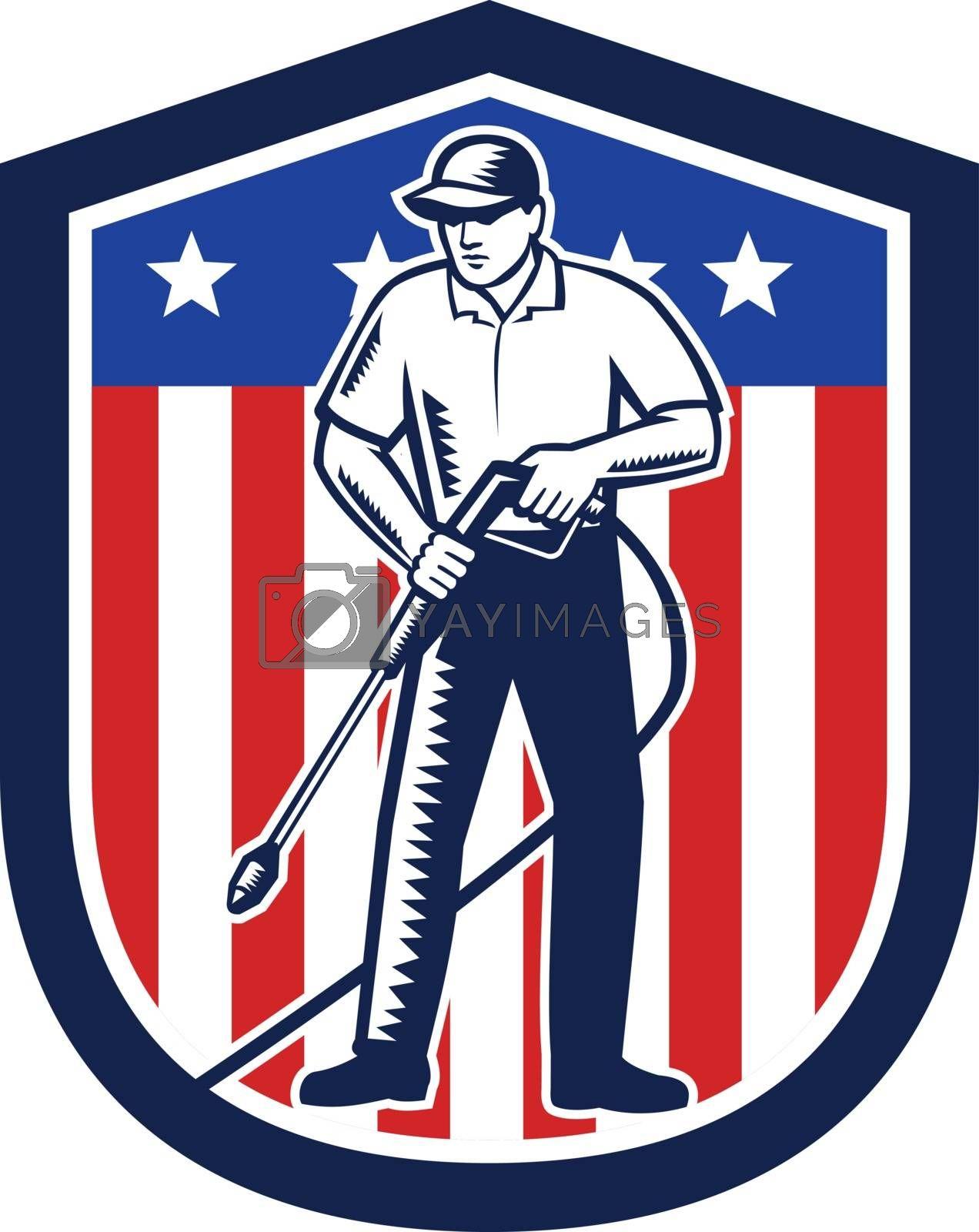 American Pressure Washing USA Flag Shield Retro by patrimonio