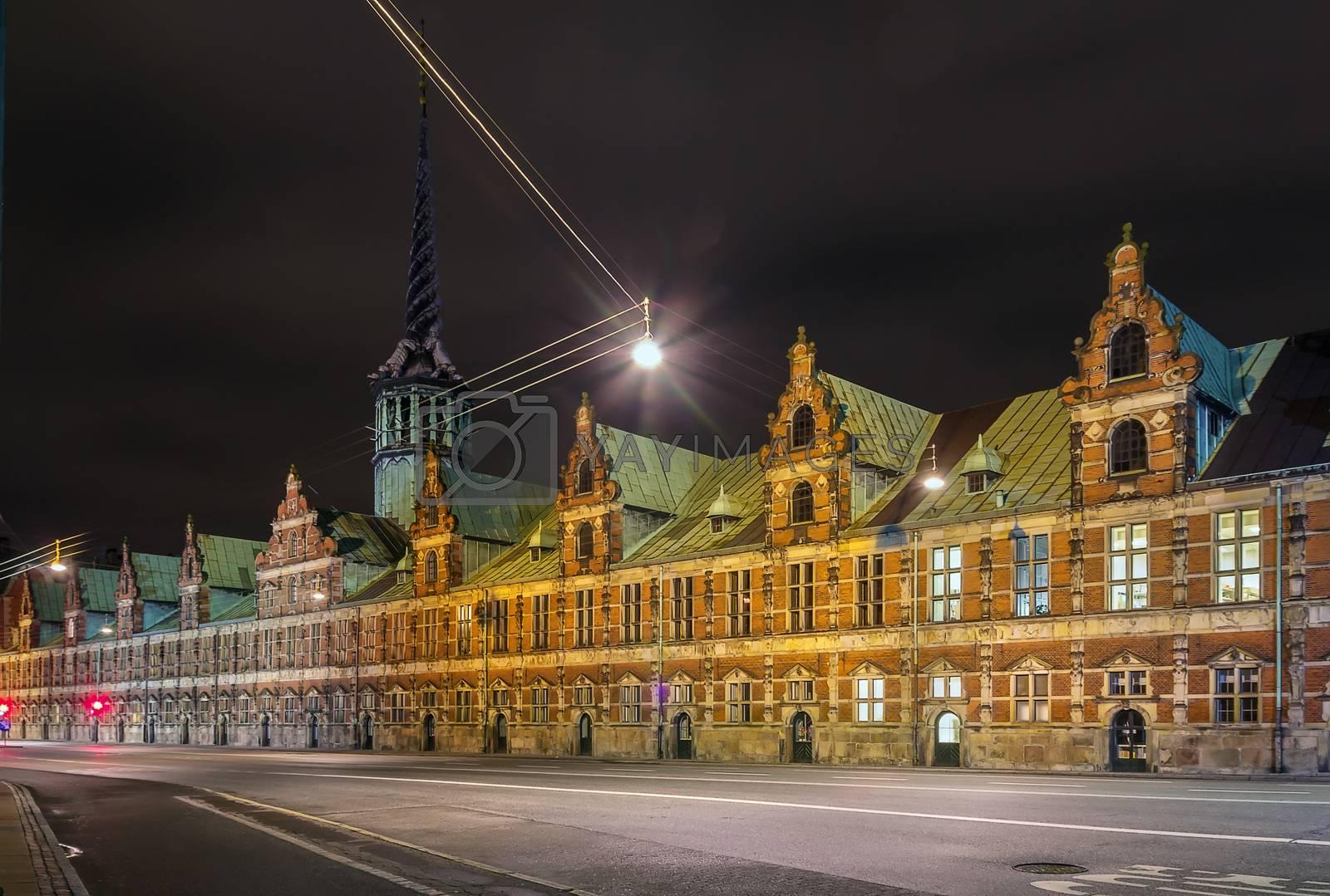 Borsen (The Stock Exchange) in evening, Copenhagen by borisb17