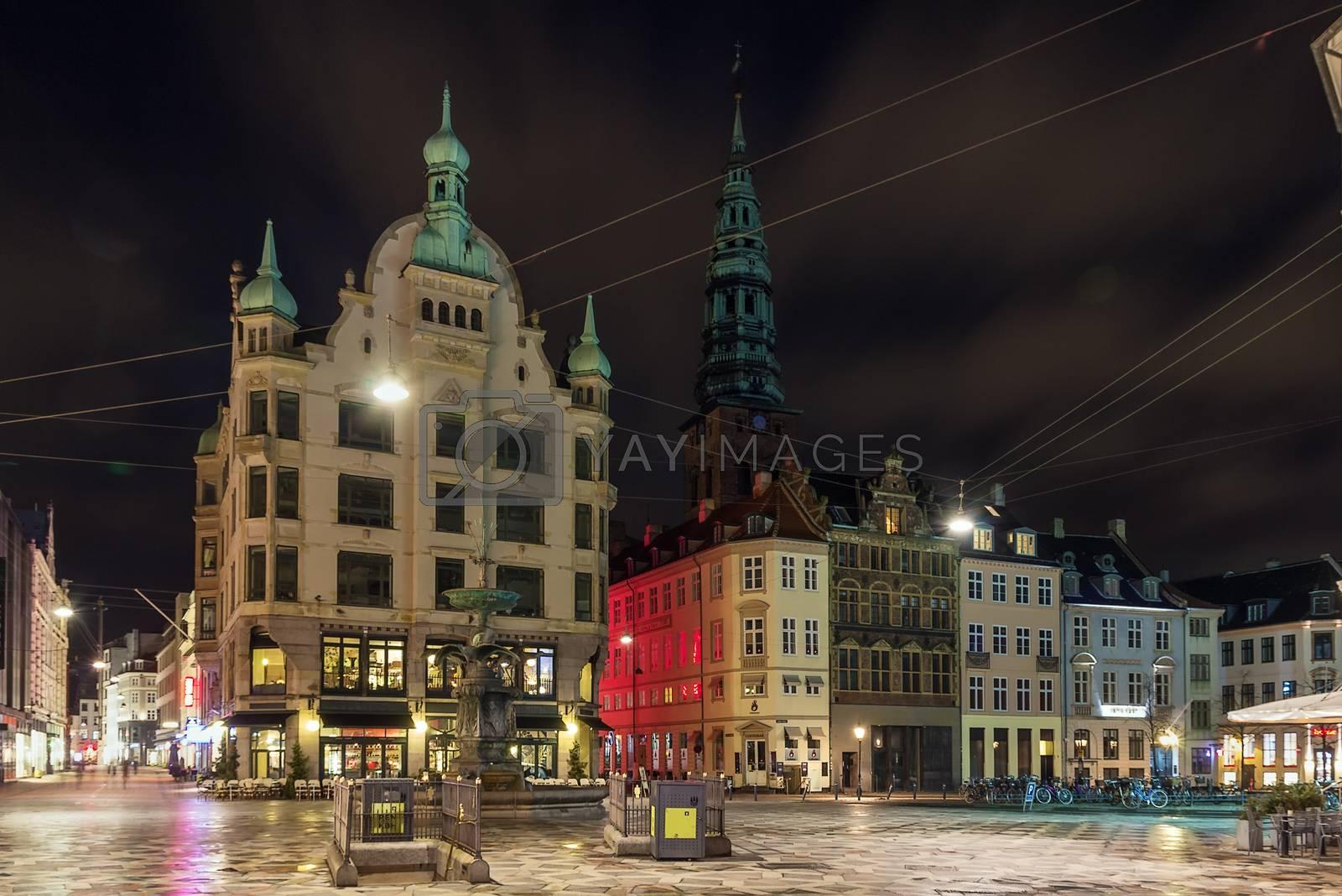 Hojbro Square in evening, Copenhagen by borisb17