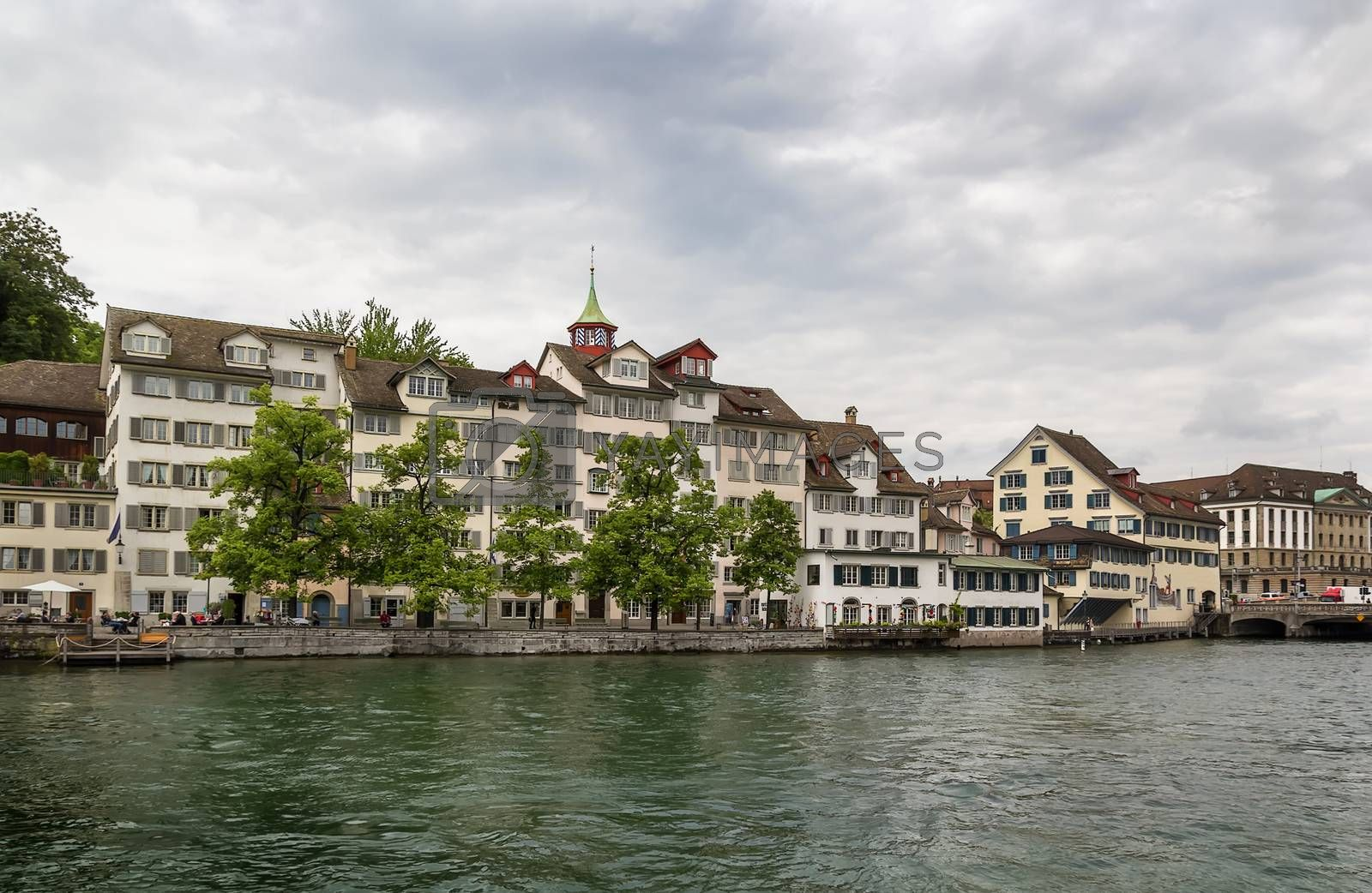 embankment of Limmat river, Zurich by borisb17