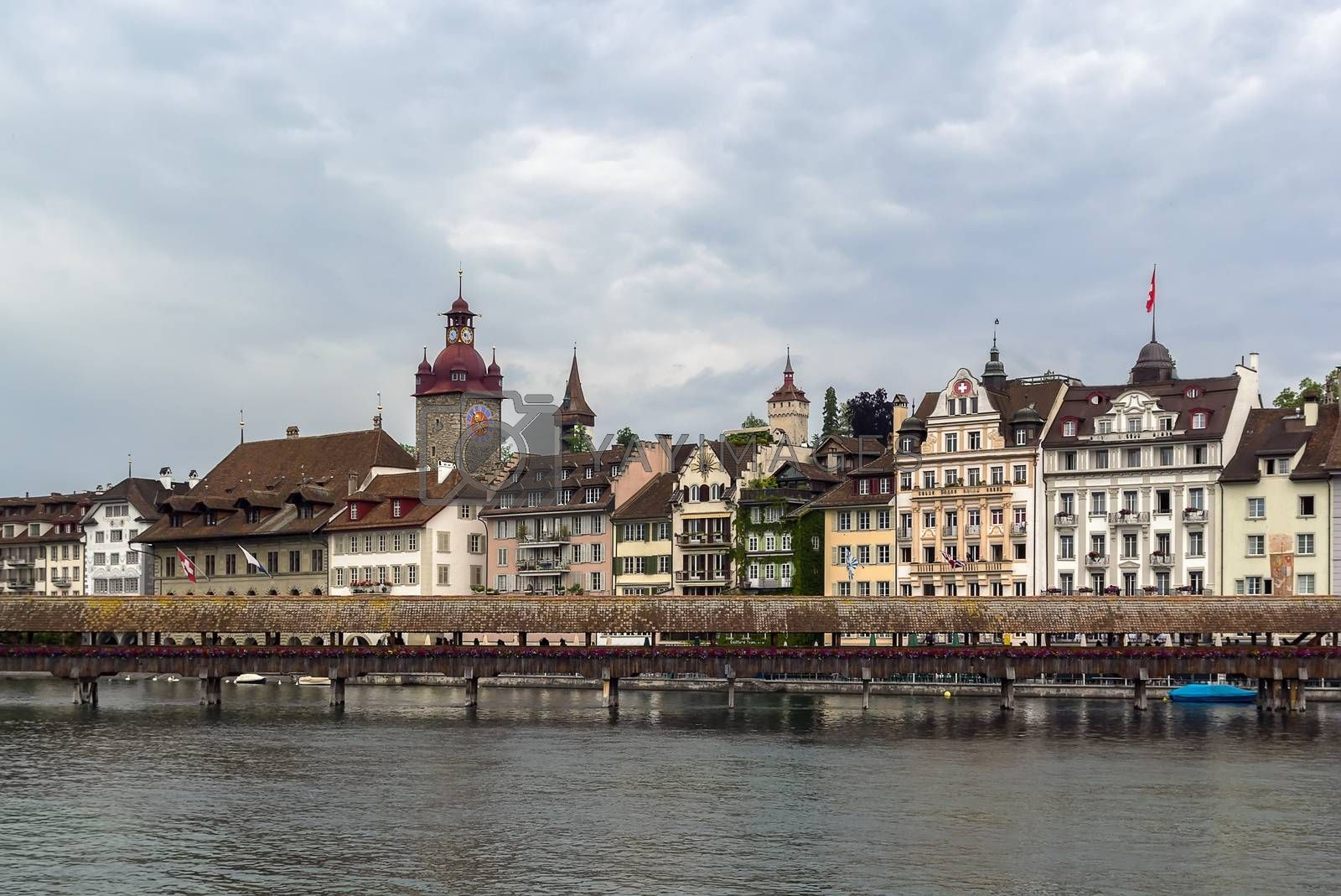 view of Lucerne with Kapellbrucke by borisb17