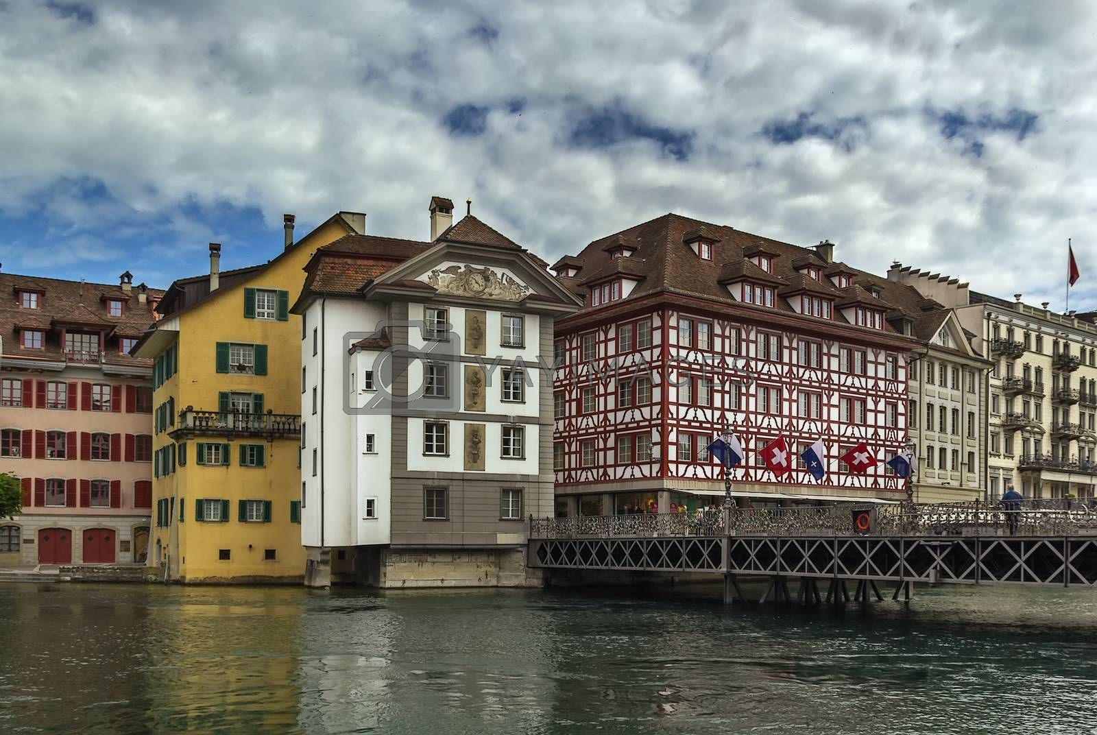 embankment of Reuss river in Lucerne by borisb17