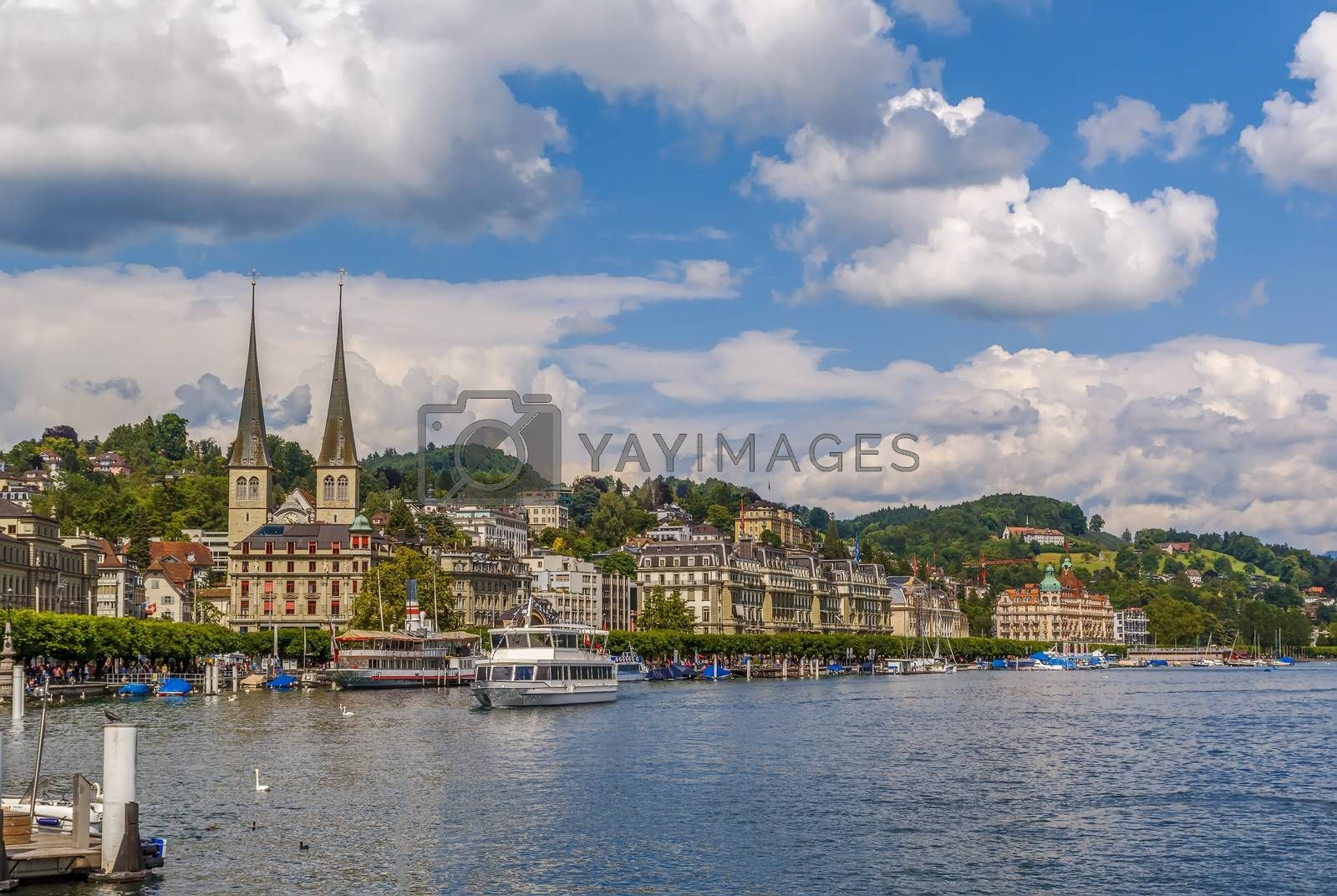 View of Lucerne from lake by borisb17