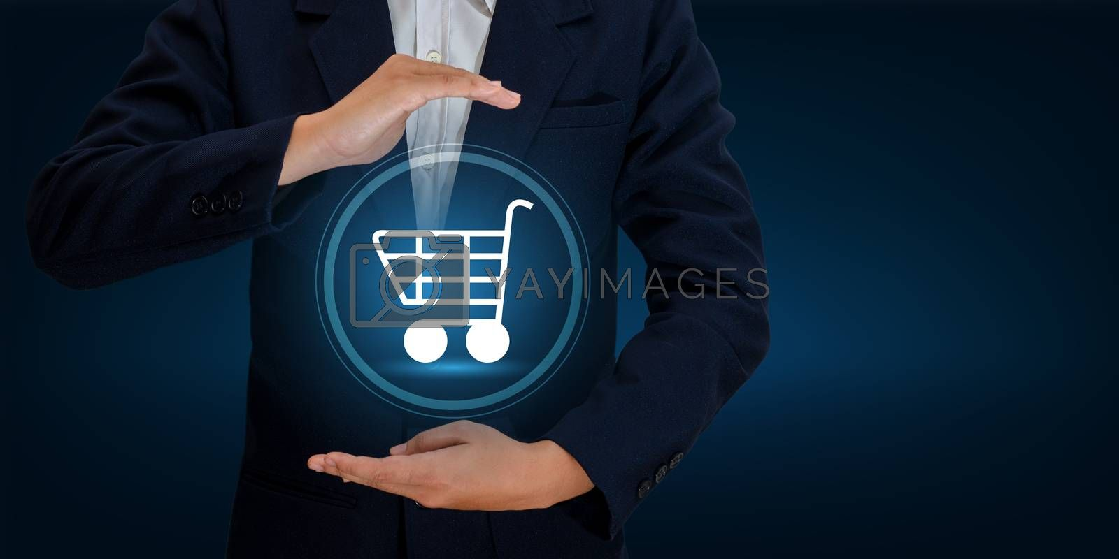 hand businessman Cart Shopping technology world digital Shopping order transactions on the internet  Trading on the world online pay dept. Blue tone by Sarayut