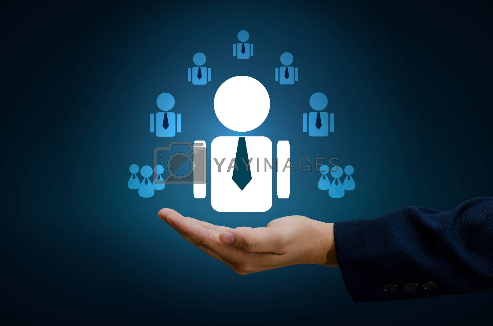 hand businessman human resource management and recruitment business  human resources CRM officer looking for employee represented by icon Gender discrimination in employees selection. blue background. by Sarayut