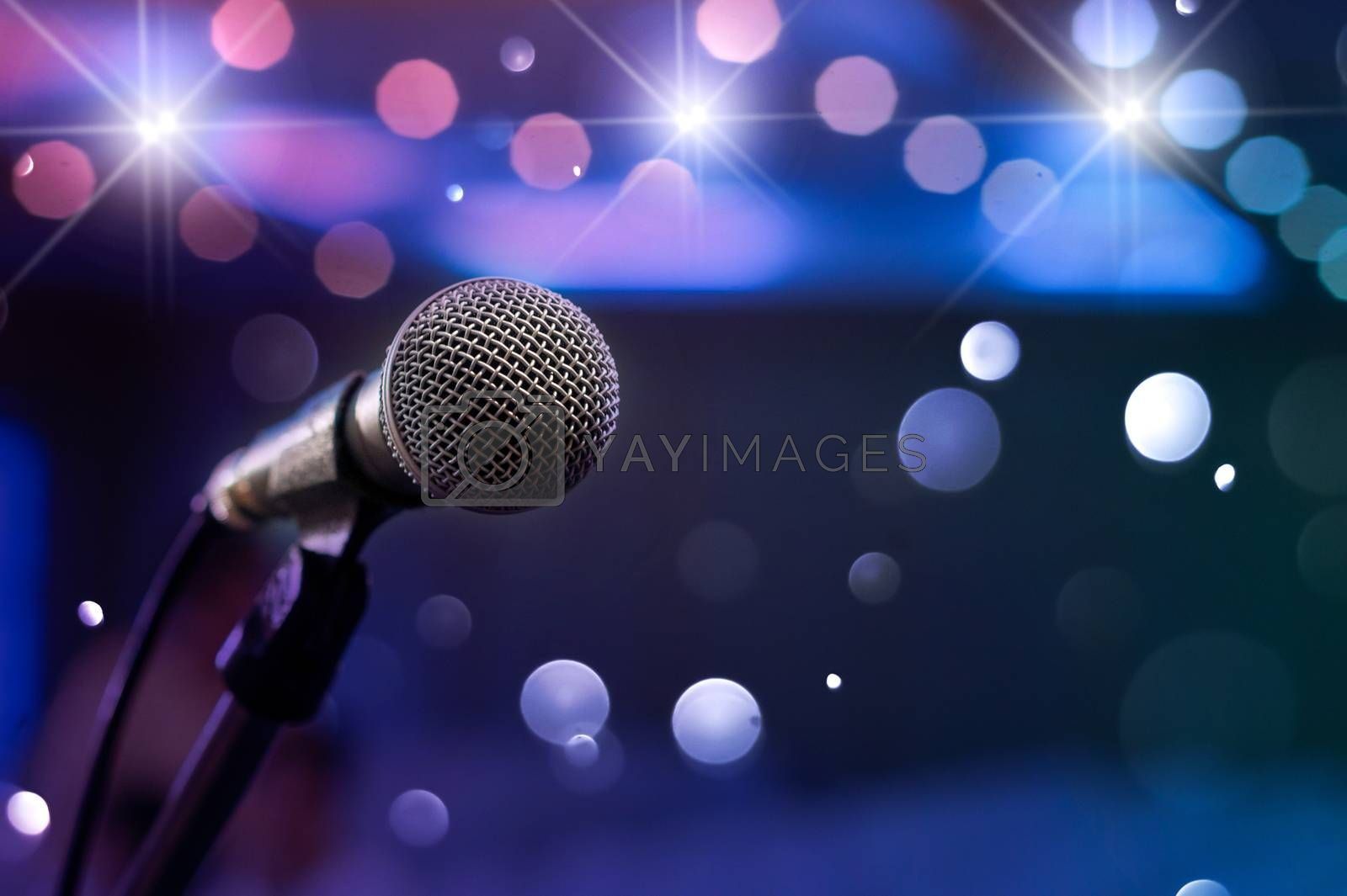 communication microphone on stage against a background of auditorium Concert stage by Sarayut