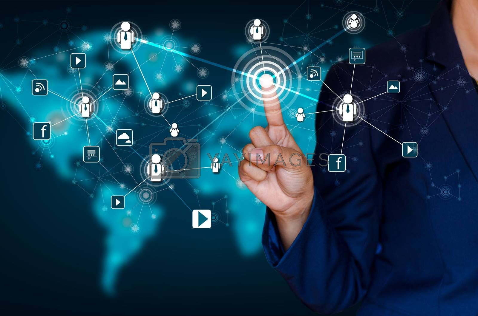 Communication technology network world map businessman pressing modern social buttons on a virtual background by Sarayut