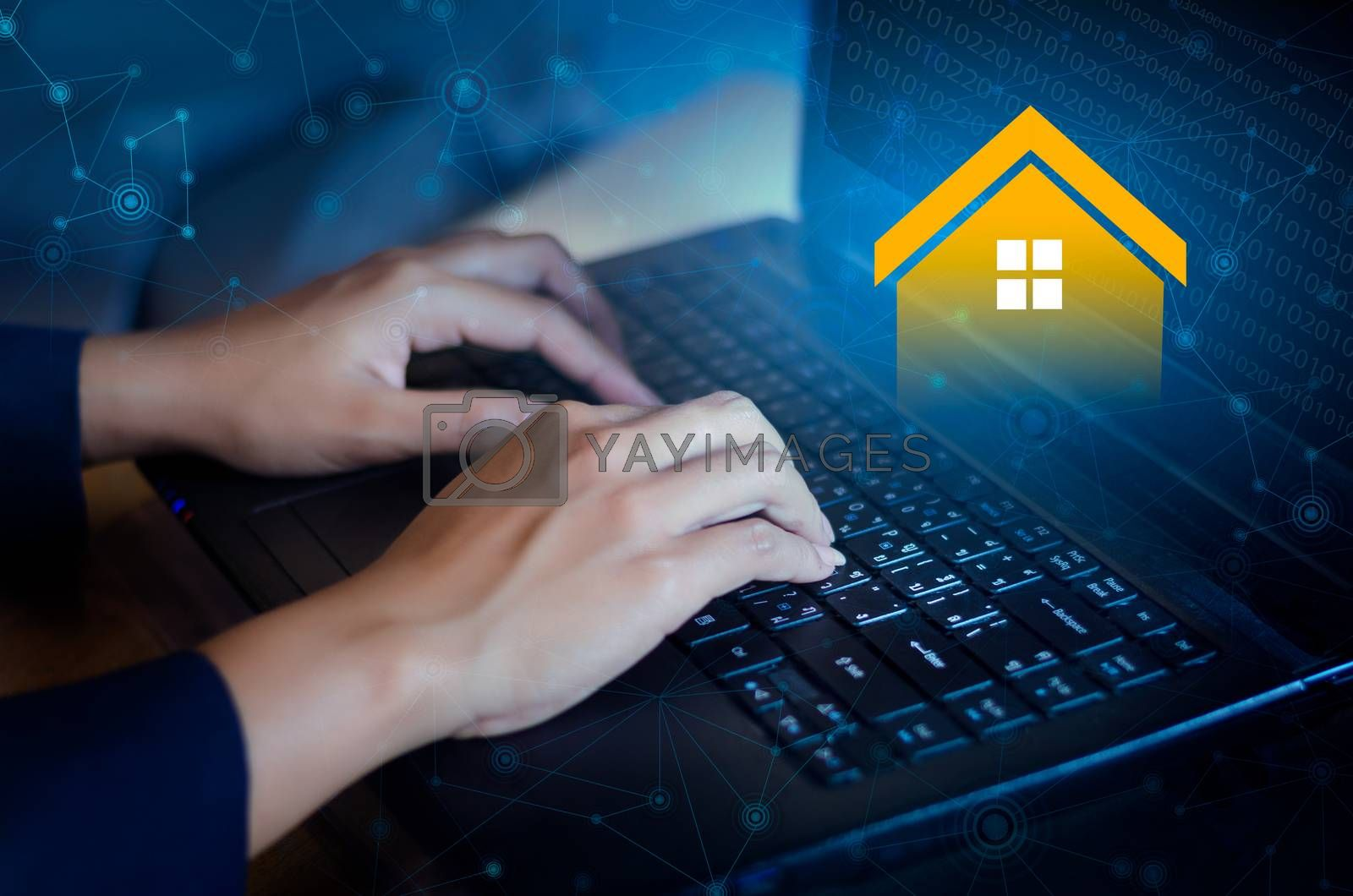 Real estate agency online keyboard Real Estate computer by Sarayut