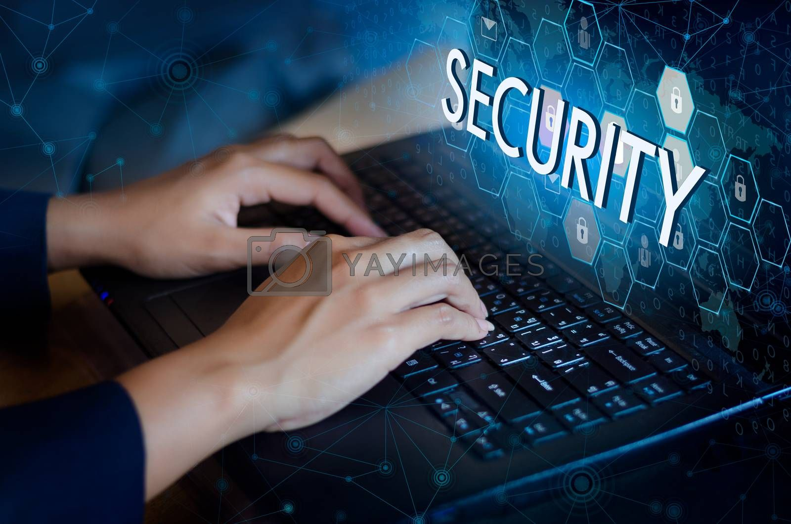 Press enter button on the computer. Key lock security system abstract technology world digital link cyber security on hi tech Dark blue background, Enter password to log in. lock finger Keyboard by Sarayut