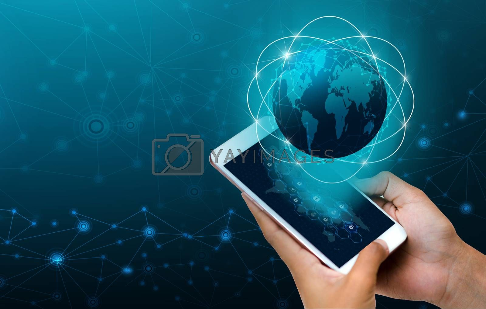 Smart Phones and Globe Connections Uncommon communication world Internet Businesspeople press the phone to communicate in the Internet. Space put message Blue tone by Sarayut