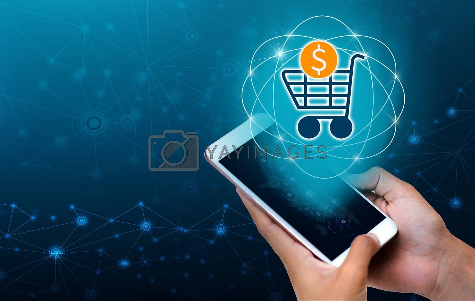 Transactio payment technology making online mobile phone phone hand Businesspeople press the phone to order or pay in the Internet.payment internet shop makes online shopping by Sarayut