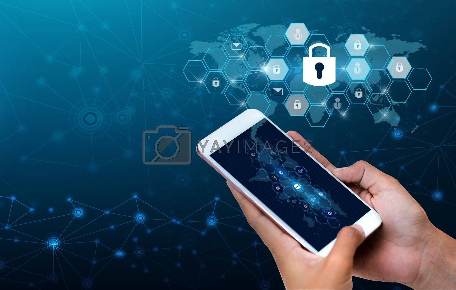 Unlocked smartphone lock Internet phone hand Businesspeople press the phone to communicate in the Internet. Cyber security concept hand protection network with lock icon and virtual screens Space put message Blue tone by Sarayut
