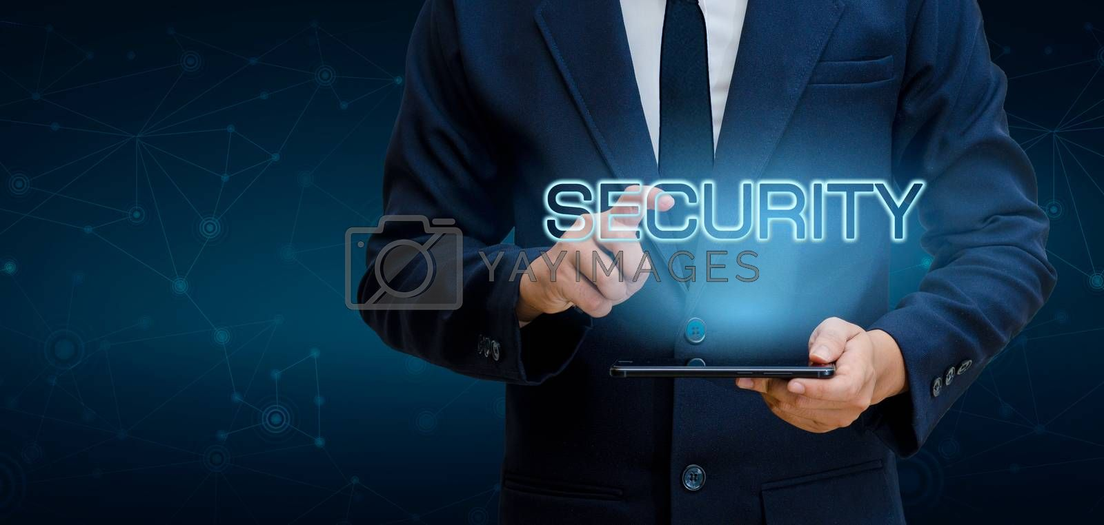 Earth polygon mesh planet World Businessmen shake hands to protect information in cyberspace. Businessman holding shield protect icon protection network security computer and safe your data concept by Sarayut