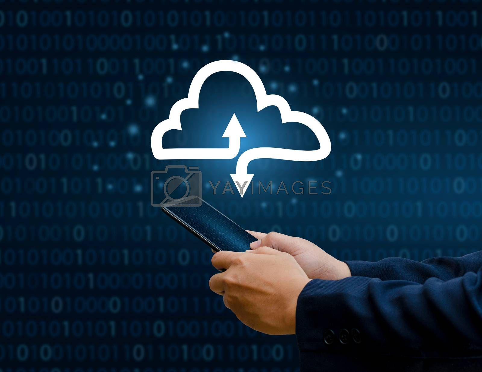 Hand print keyboard phone Press enter button on the computer hand businessman connect Cloud collect data Cloud computing concept  businessman or information computing icon by Sarayut