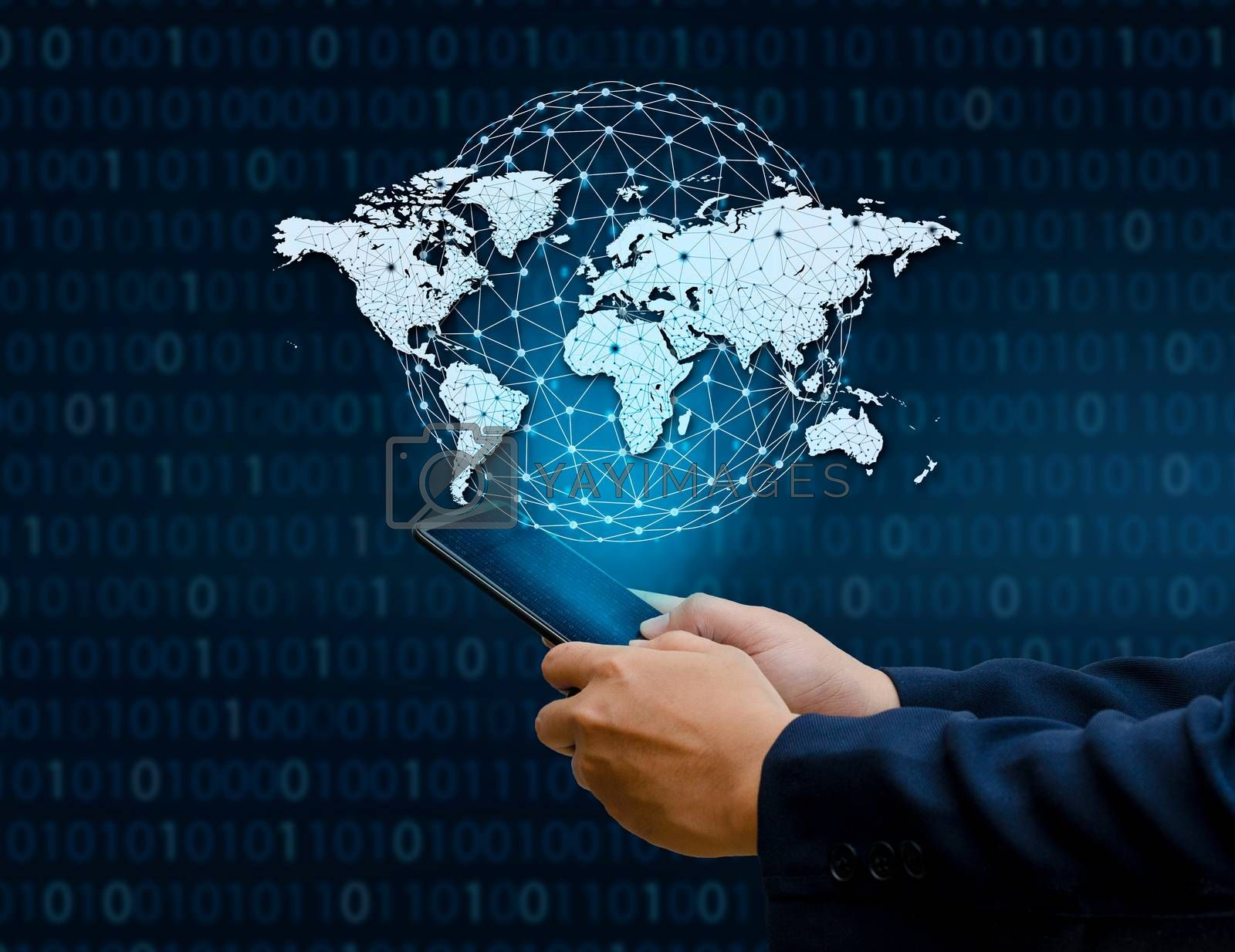 Global Communications Map Binary Smart Phones and Globe Connections Uncommon communication world Internet Businesspeople press the phone to communicate in the Internet. Space put message Blue tone by Sarayut