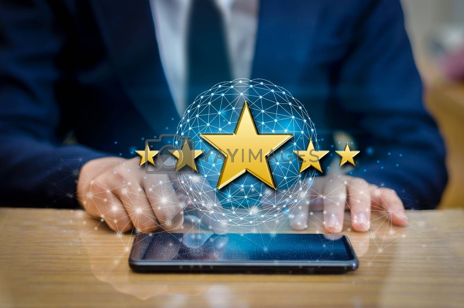 Businessmen pointing five star stars to boost corporate ratings Phone Holder by Sarayut