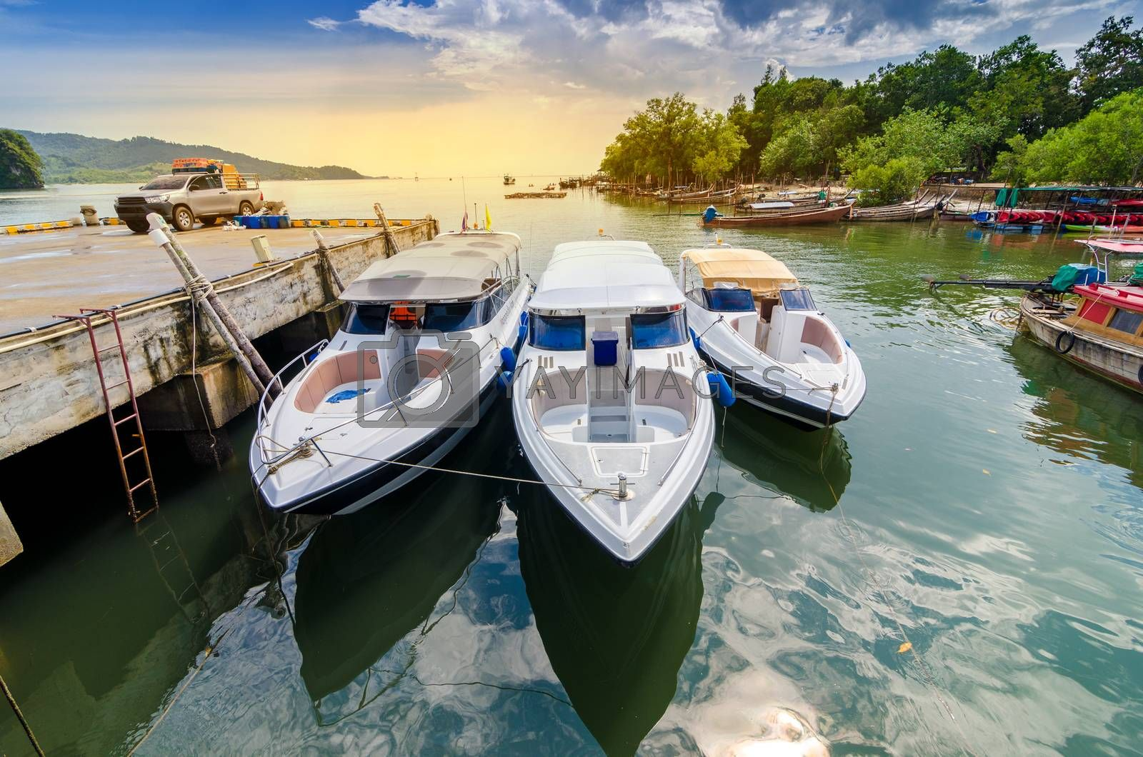 travel Speed Boat port thailand shipping location Tourist boat to island in Thailand In the bright blue days by Sarayut