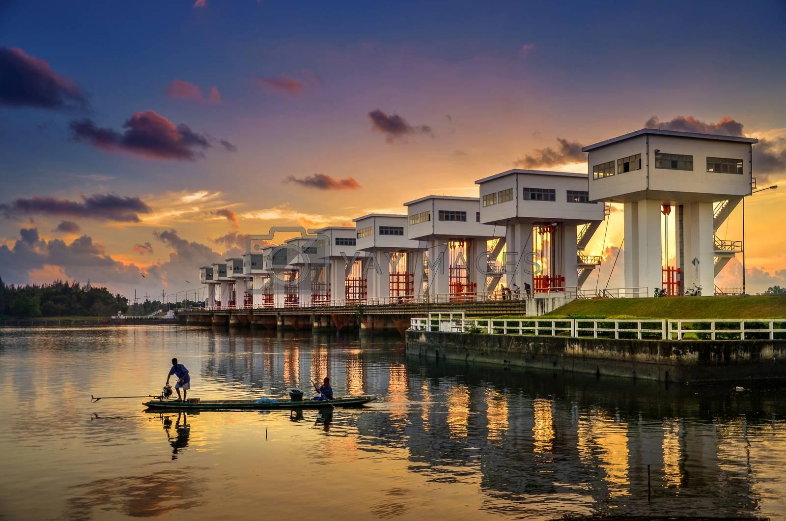 Morning light Utho Wipat prasit floodgates at sunset in pak phanang, nakhon si thammarat, thailand Architecture by Sarayut