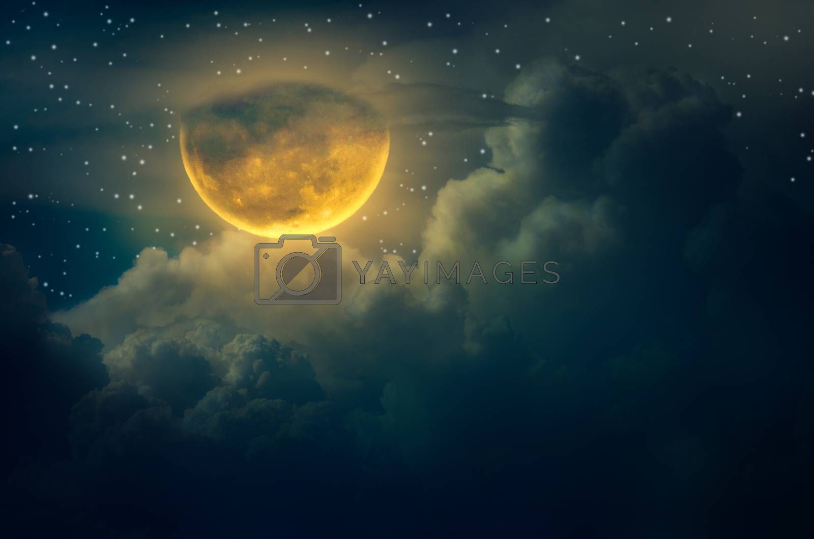 Blue sky with cloudchuseok moon Cloud Big moon floating in the sky with many stars surrounded Halloween by Sarayut