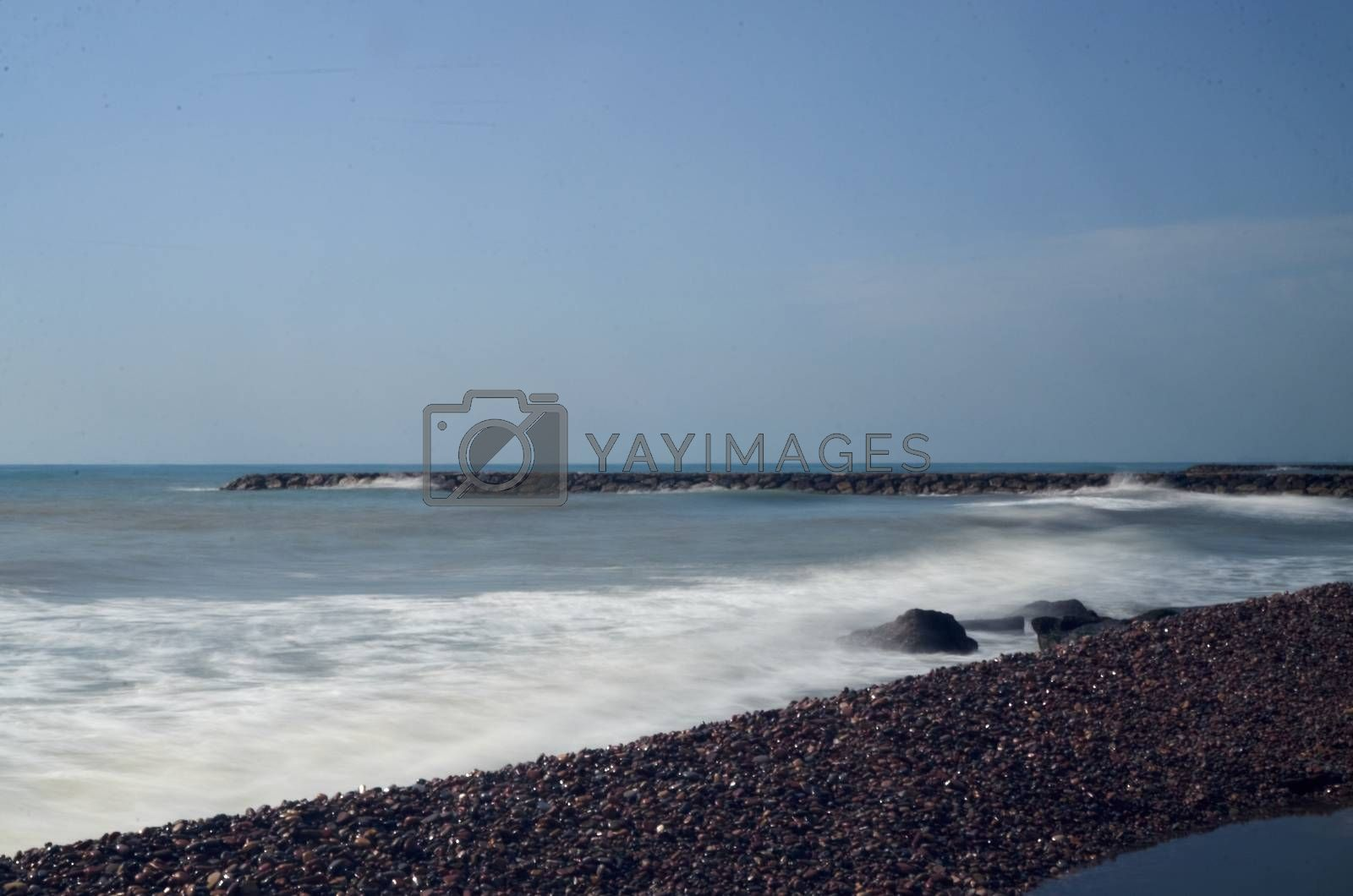 Coast of the Mediterranean in Puzol Valencia long exposure