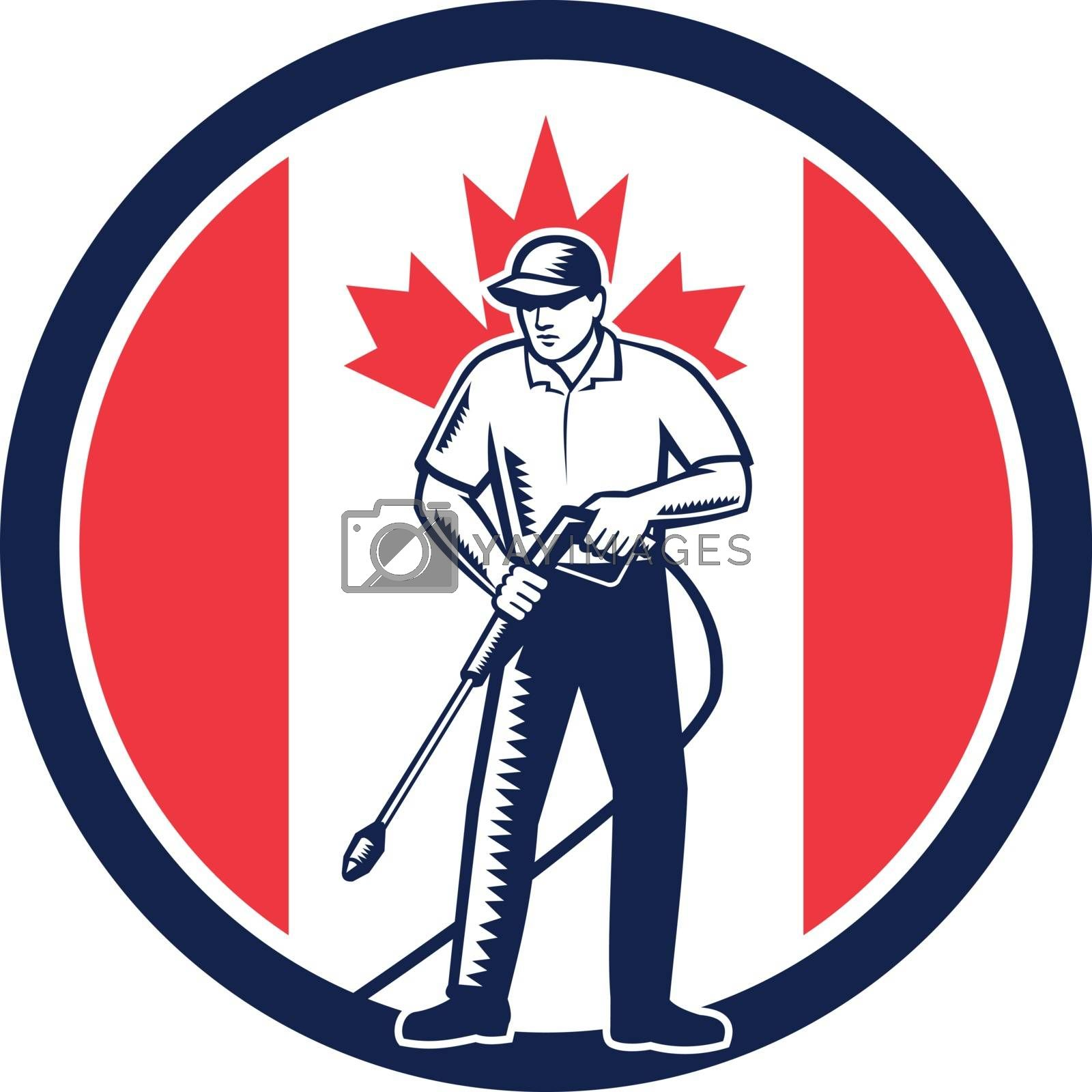 Canada Pressure Washing Flag Circle Retro by patrimonio