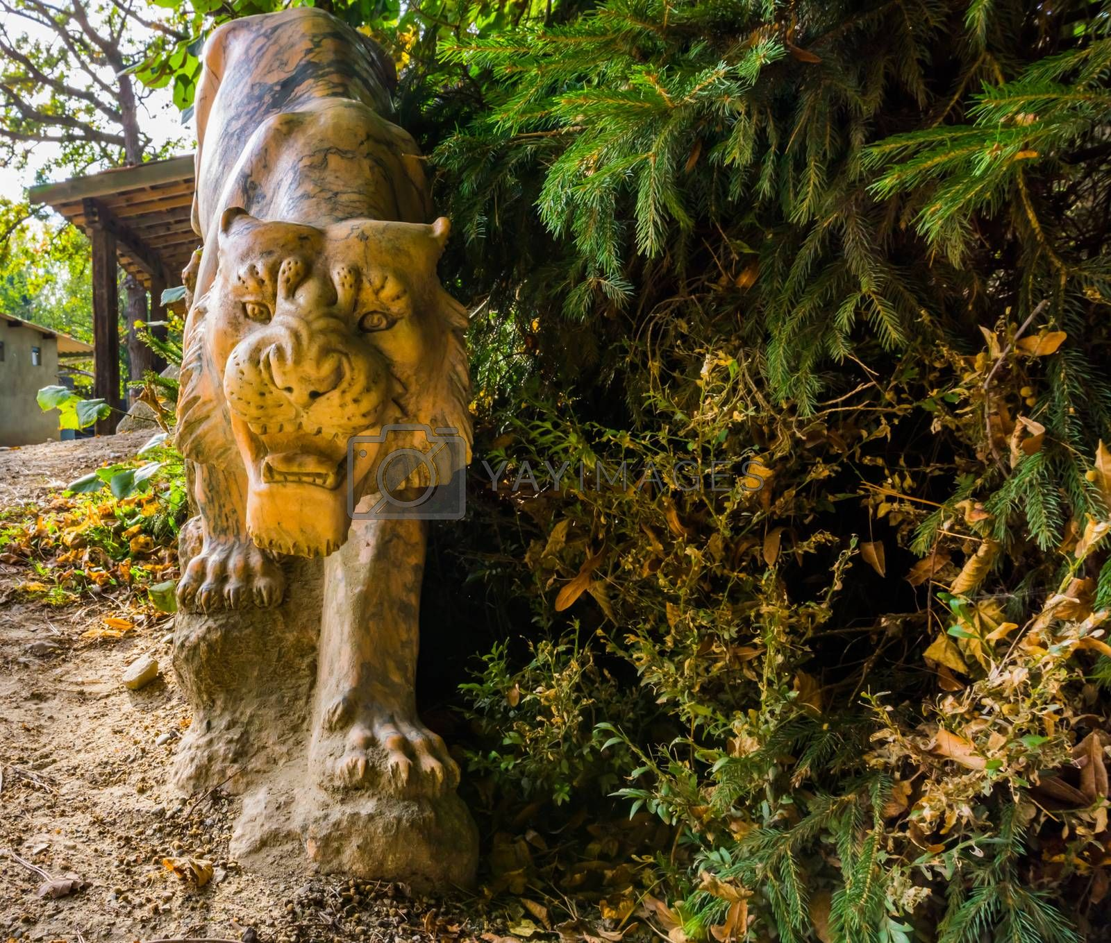beautiful sculpted stone tiger statue, garden animal decorations by charlotte Bleijenberg