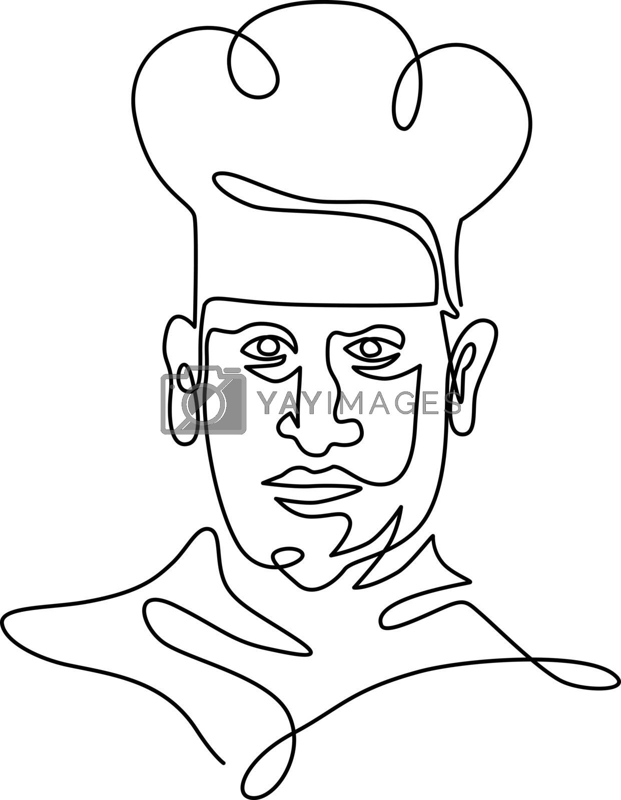 Chef Wearing Toque Hat Continuous Line by patrimonio