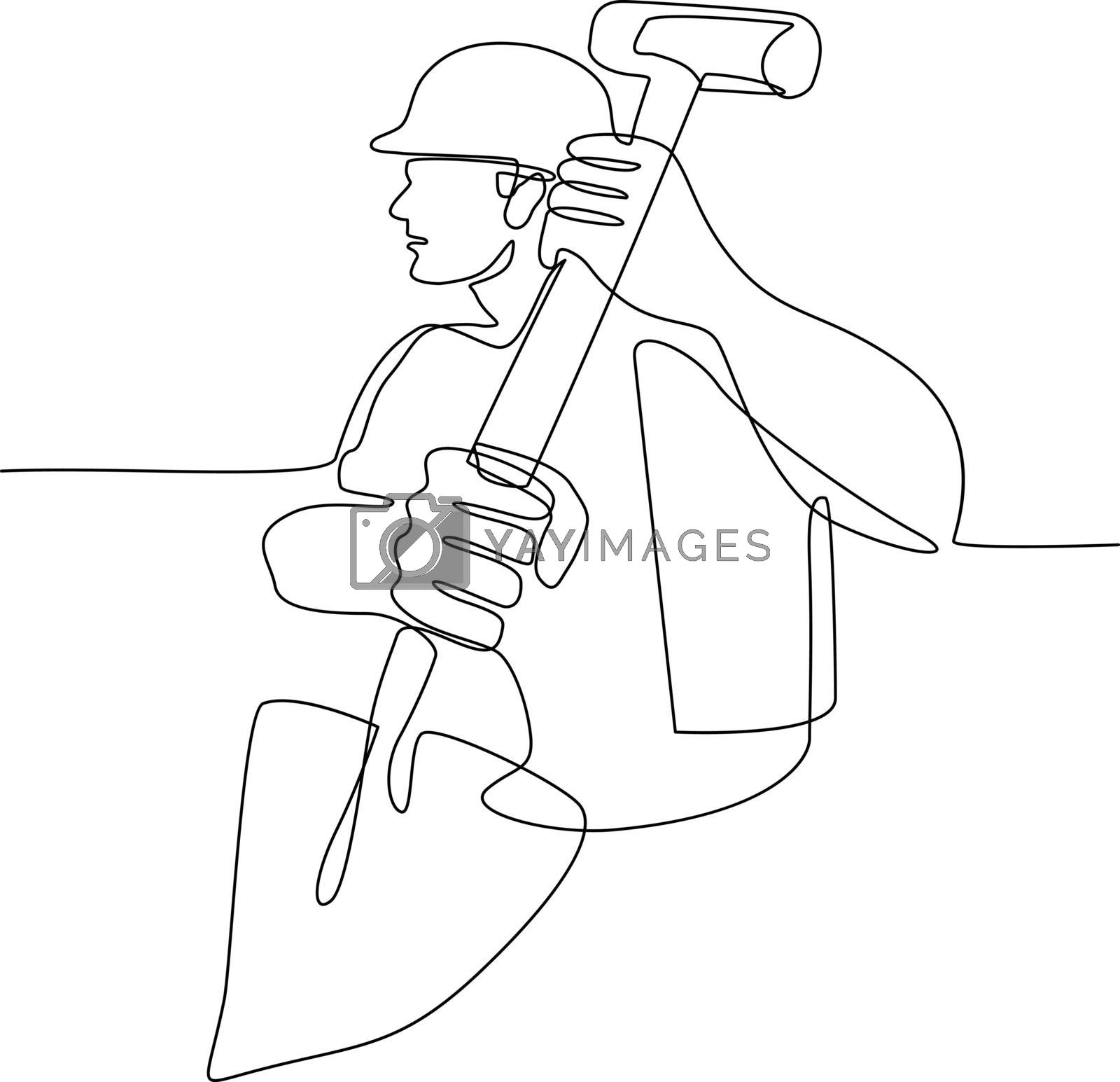 Construction Worker Spade Continuous Line by patrimonio
