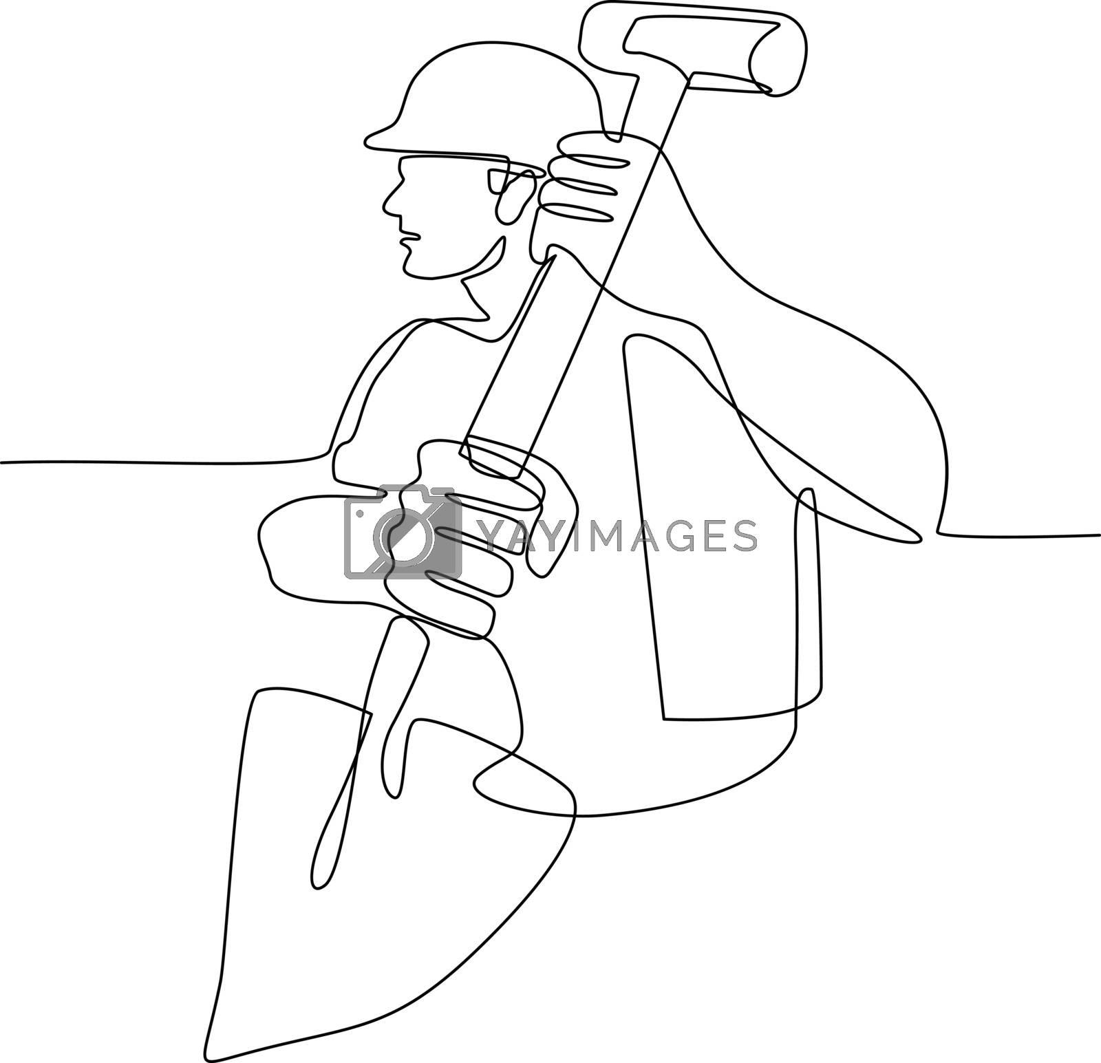 Construction Worker Spade Continuous Line by patrimonio