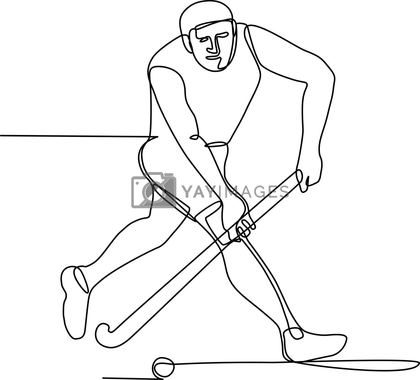 Field Hockey Player Continuous Line by patrimonio