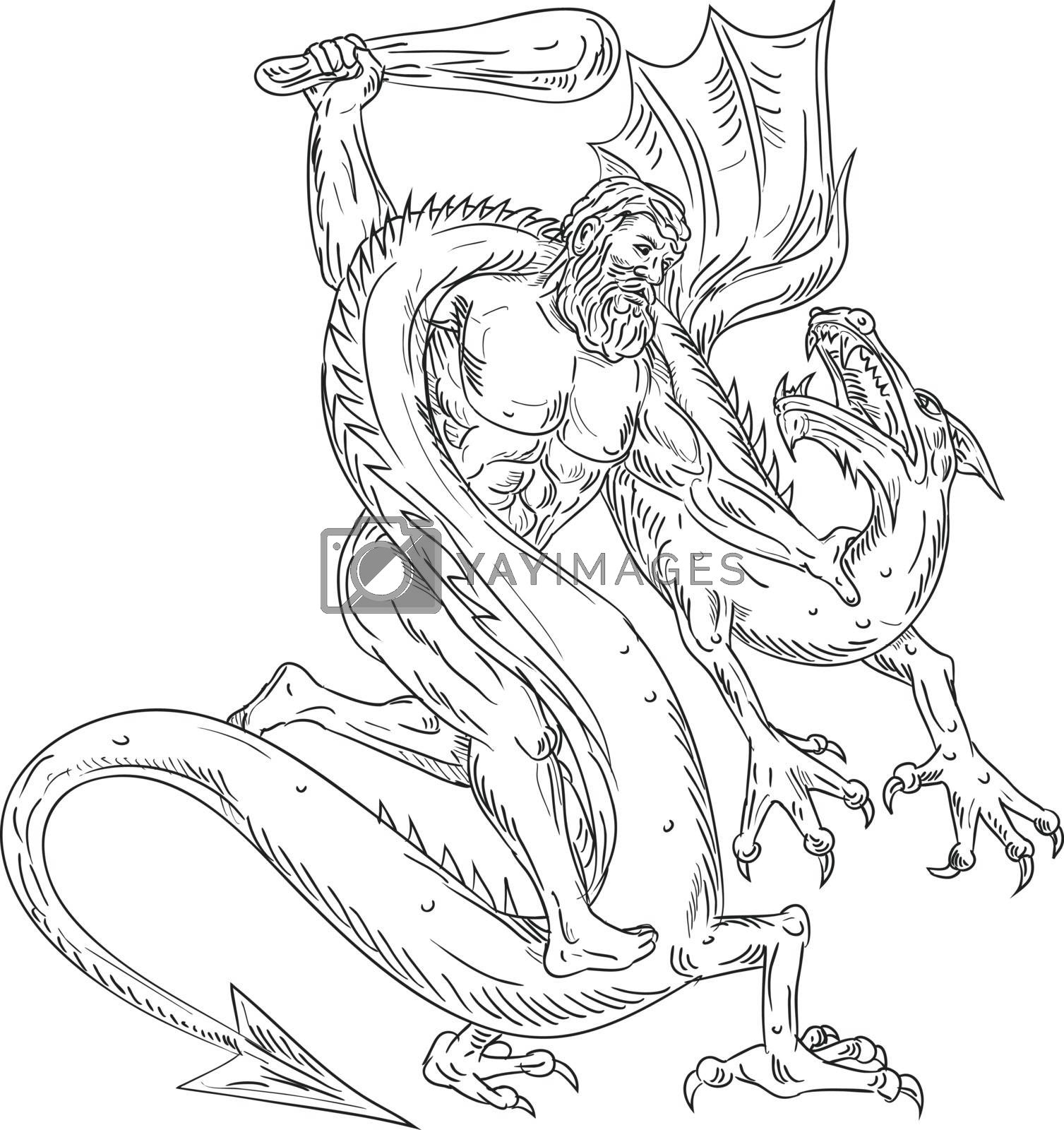 Hercules Grappling Dragon Drawing Black and White by patrimonio
