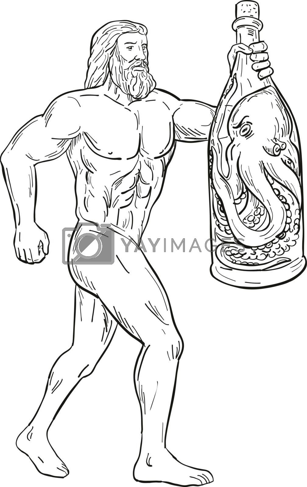 Hercules With Bottled Up Angry Octopus Drawing Black and White by patrimonio