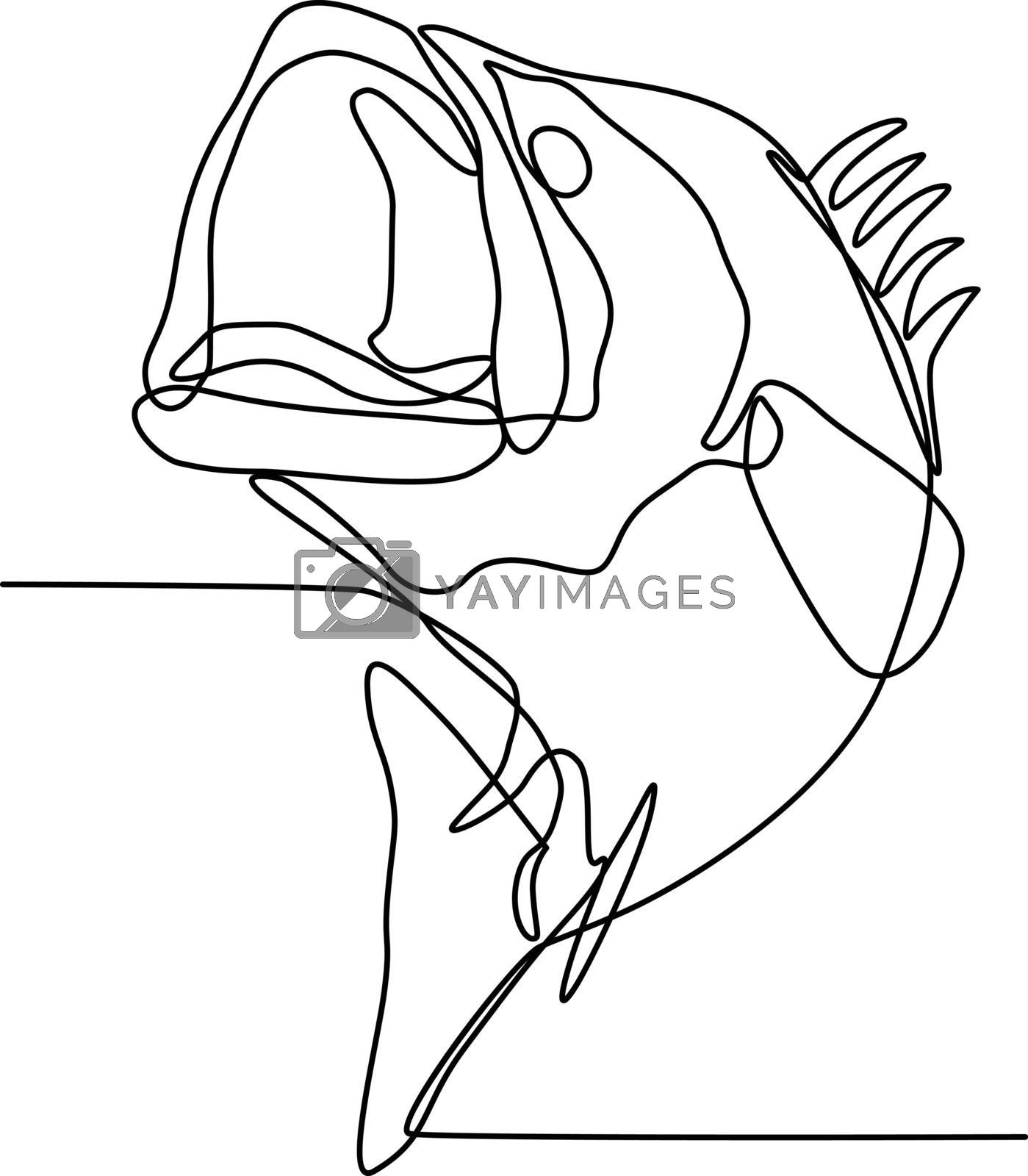Largemouth Bass Jumping Continuous Line by patrimonio