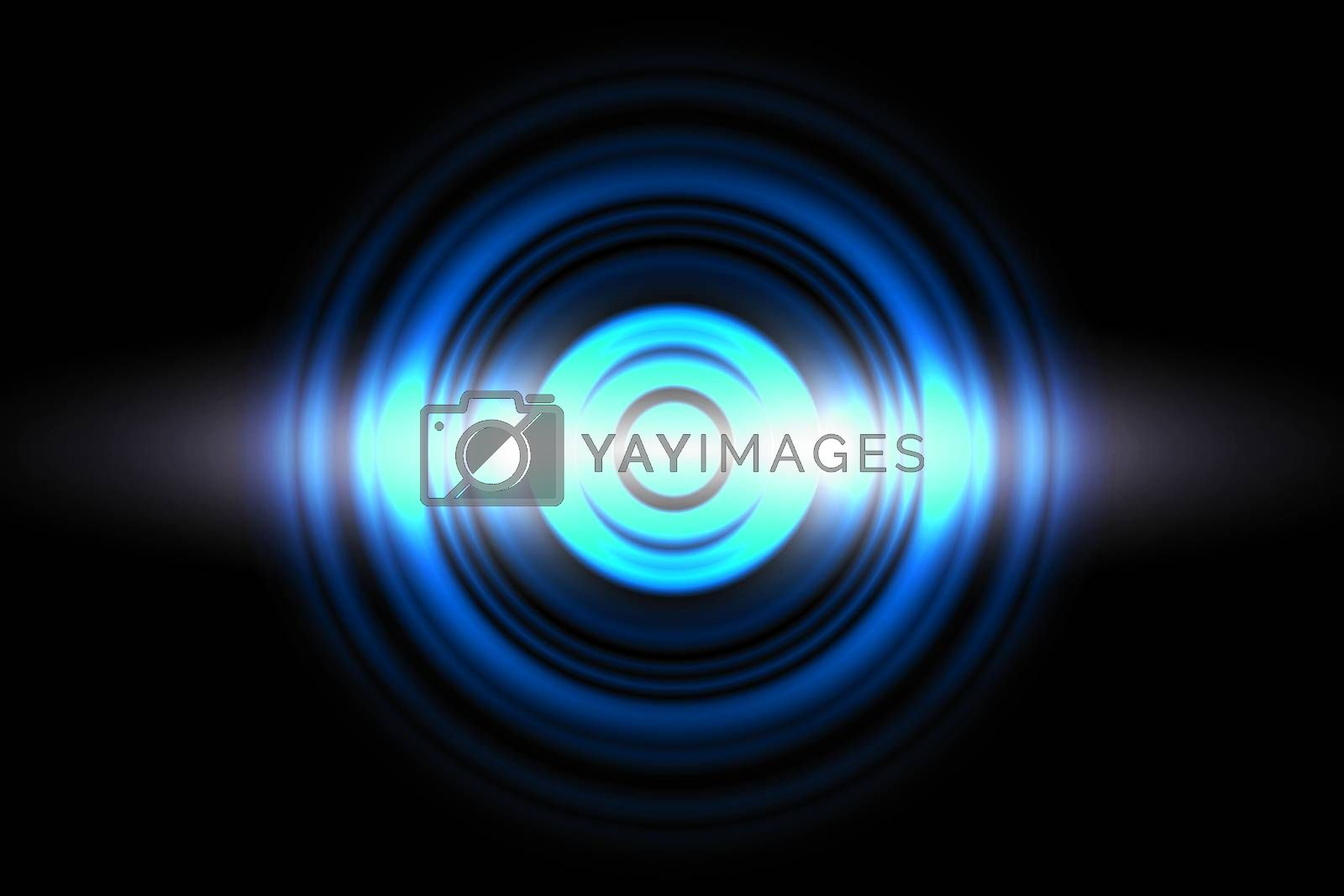 Sound waves oscillating blue light with circle spin, abstract background by mouu007