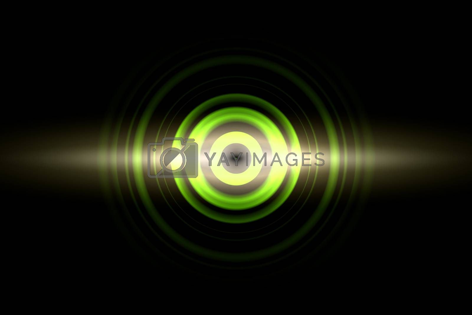 Sound waves oscillating green light with circle spin, abstract background by mouu007