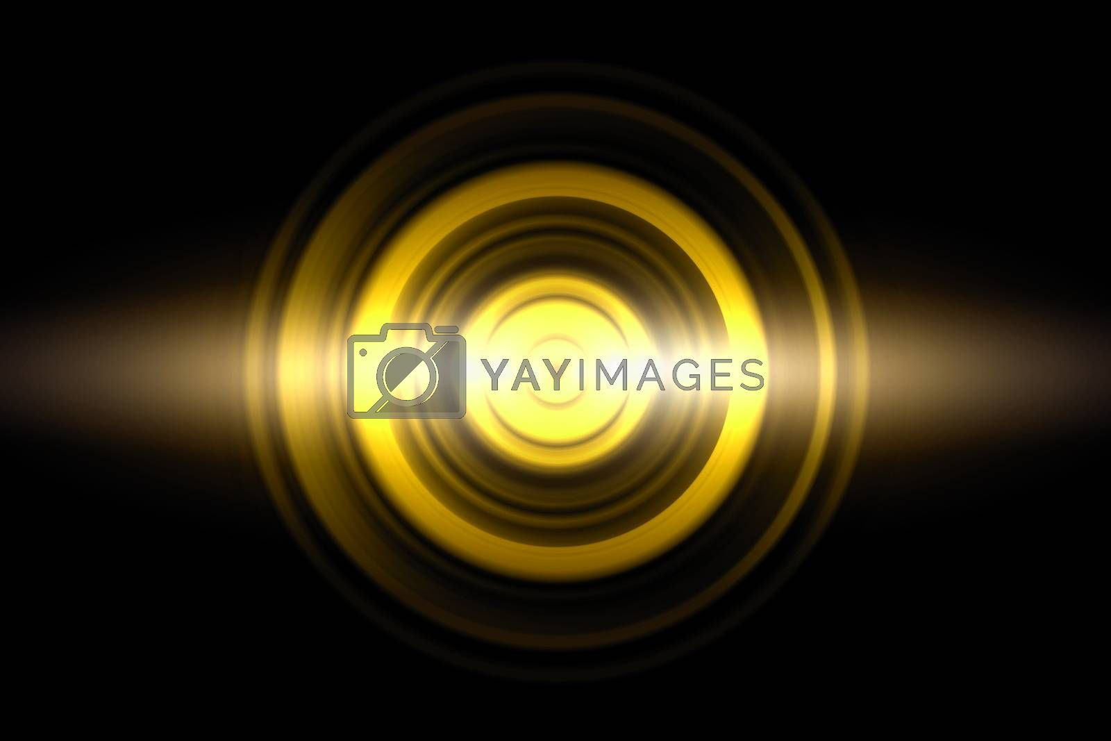 Sound waves oscillating golden light with circle spin, abstract background by mouu007