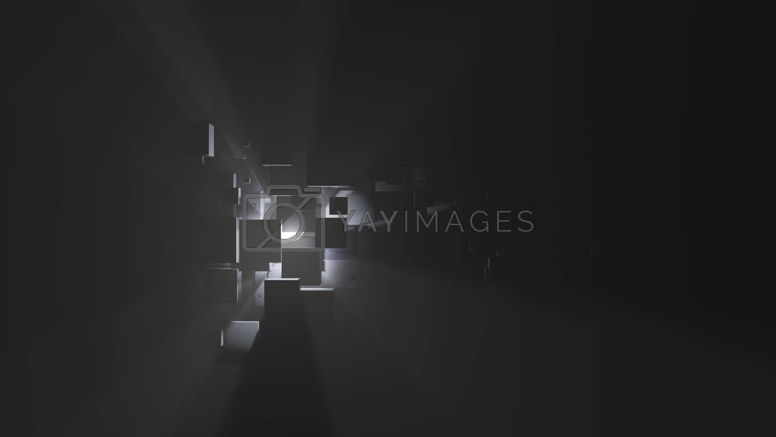 Abstract background of boxes, light rays and fog by cherezoff