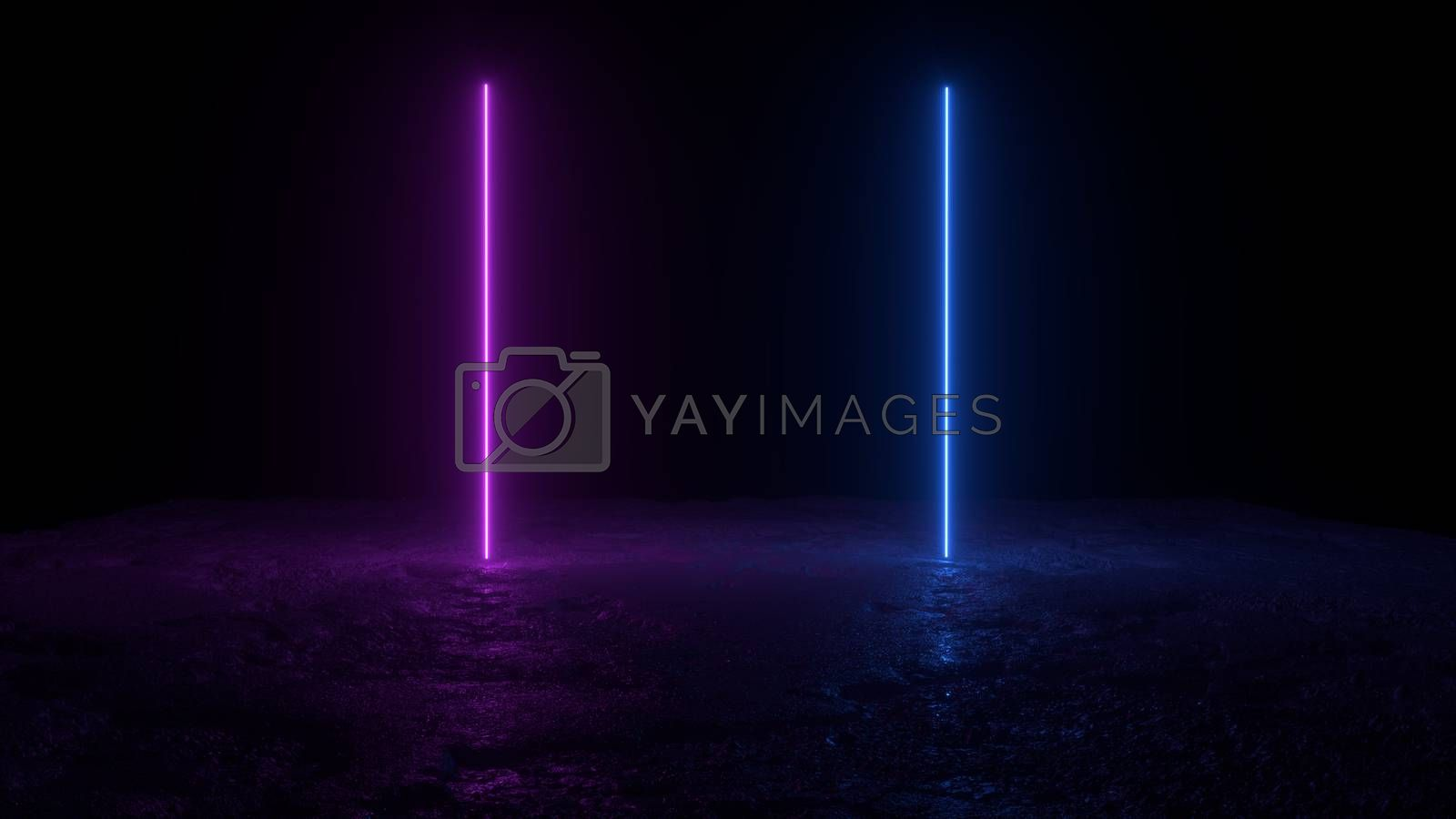 3d abstract background render, two pink amd blue neon lights on the ground, retrowave and synthwave illustration. Futuritic concept