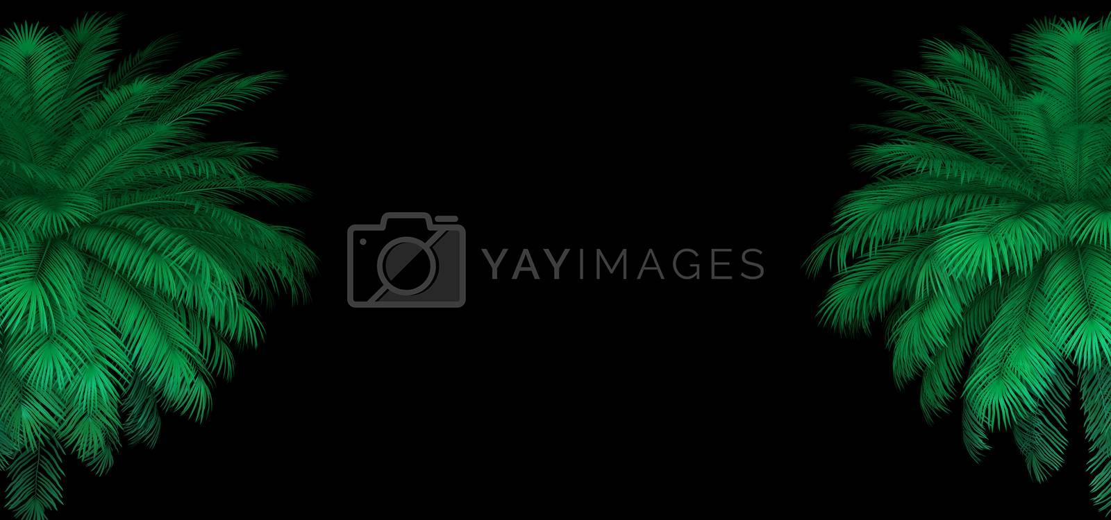 3d render of neon palm leaves on the black. Banner design. Retrowave, synthwave, vaporwave illustration. Party and sales concept