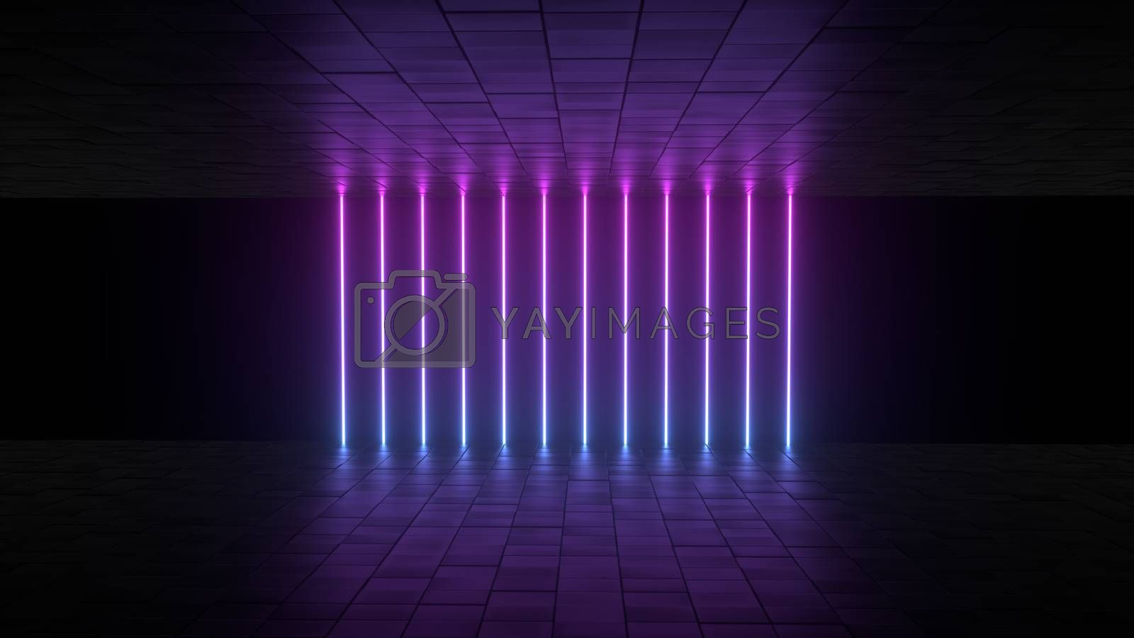 3d abstract background render, pink and bue neon lights in the room, retrowave and synthwave illustration. Futuritic concept