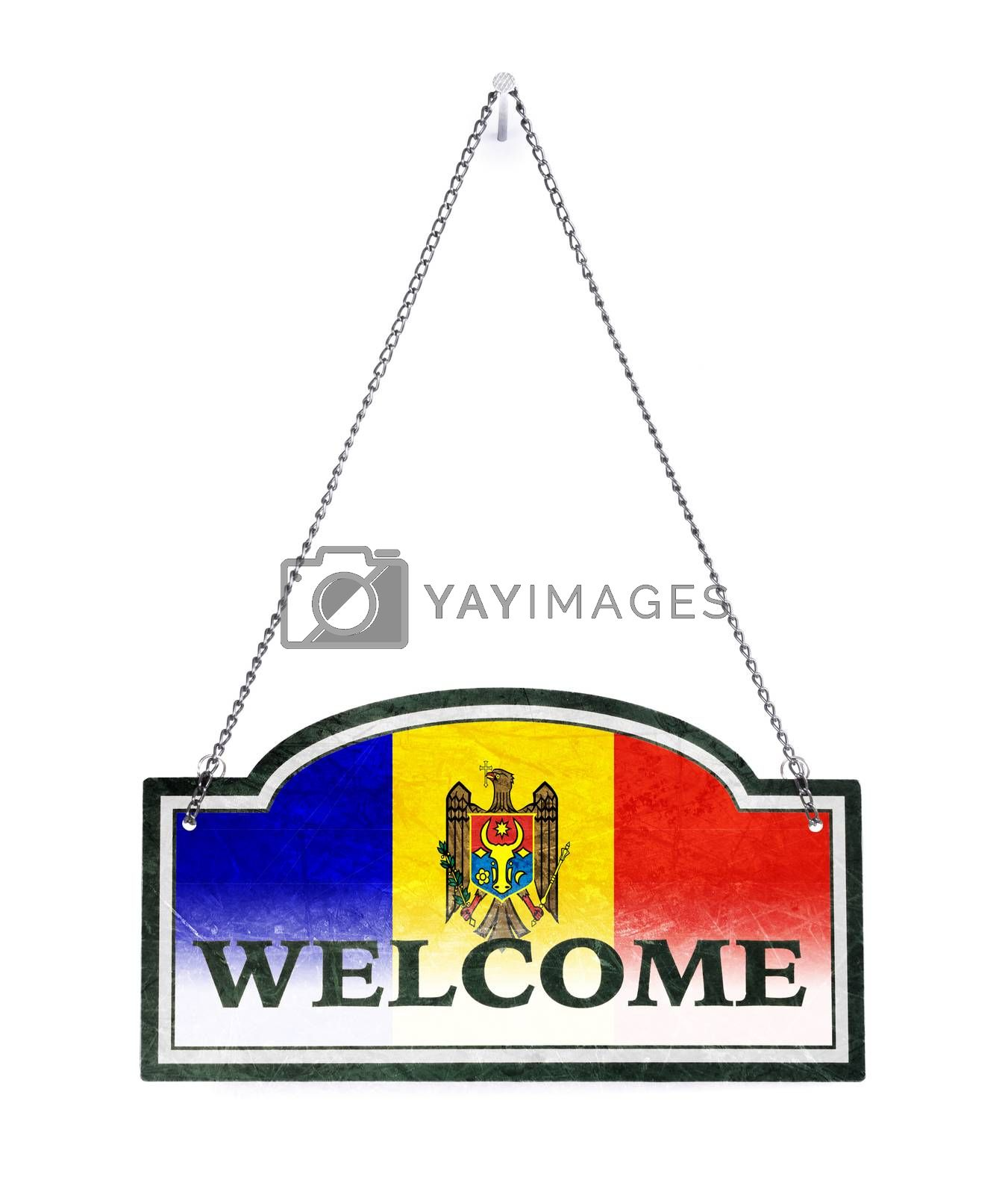 Moldova welcomes you! Old metal sign isolated by michaklootwijk