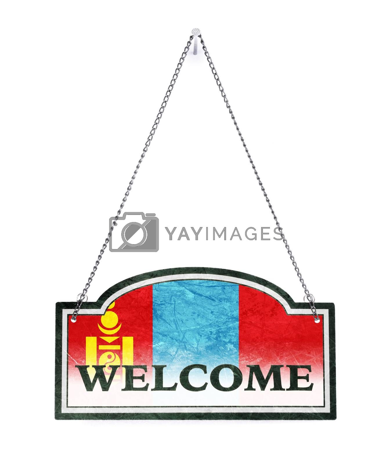 Samoa welcomes you! Old metal sign isolated by michaklootwijk
