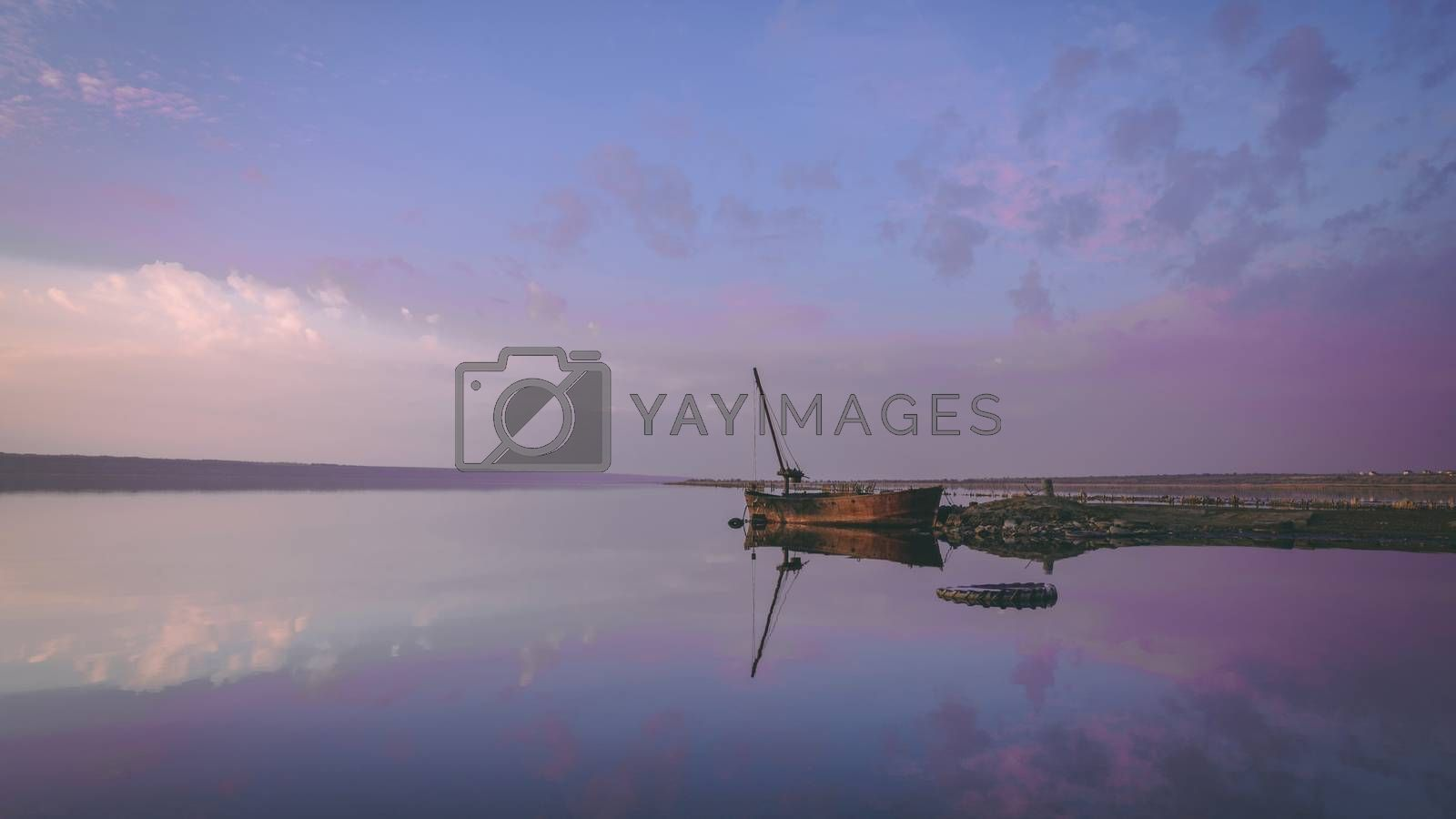 Panoramic view of the salt lake at sunset by Sergii Zarev